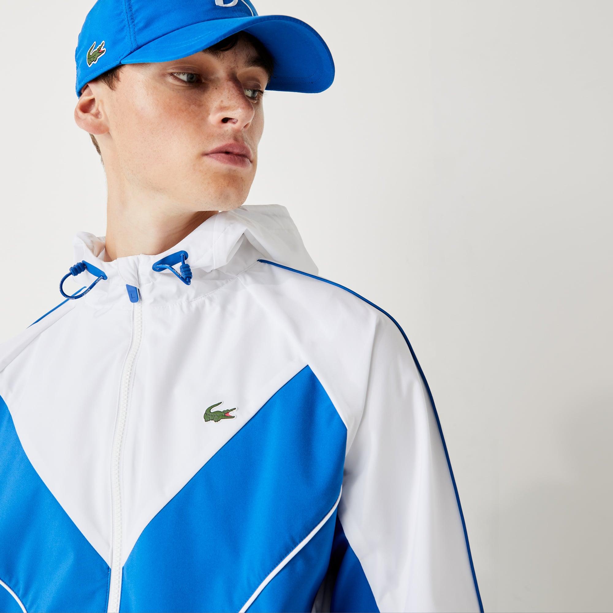 라코스테 스포츠 '노박 조코비치' 경량 바람막이 자켓 - 화이트/블루 Lacoste Mens SPORT x Novak Djokovic Lightweight Windbreaker