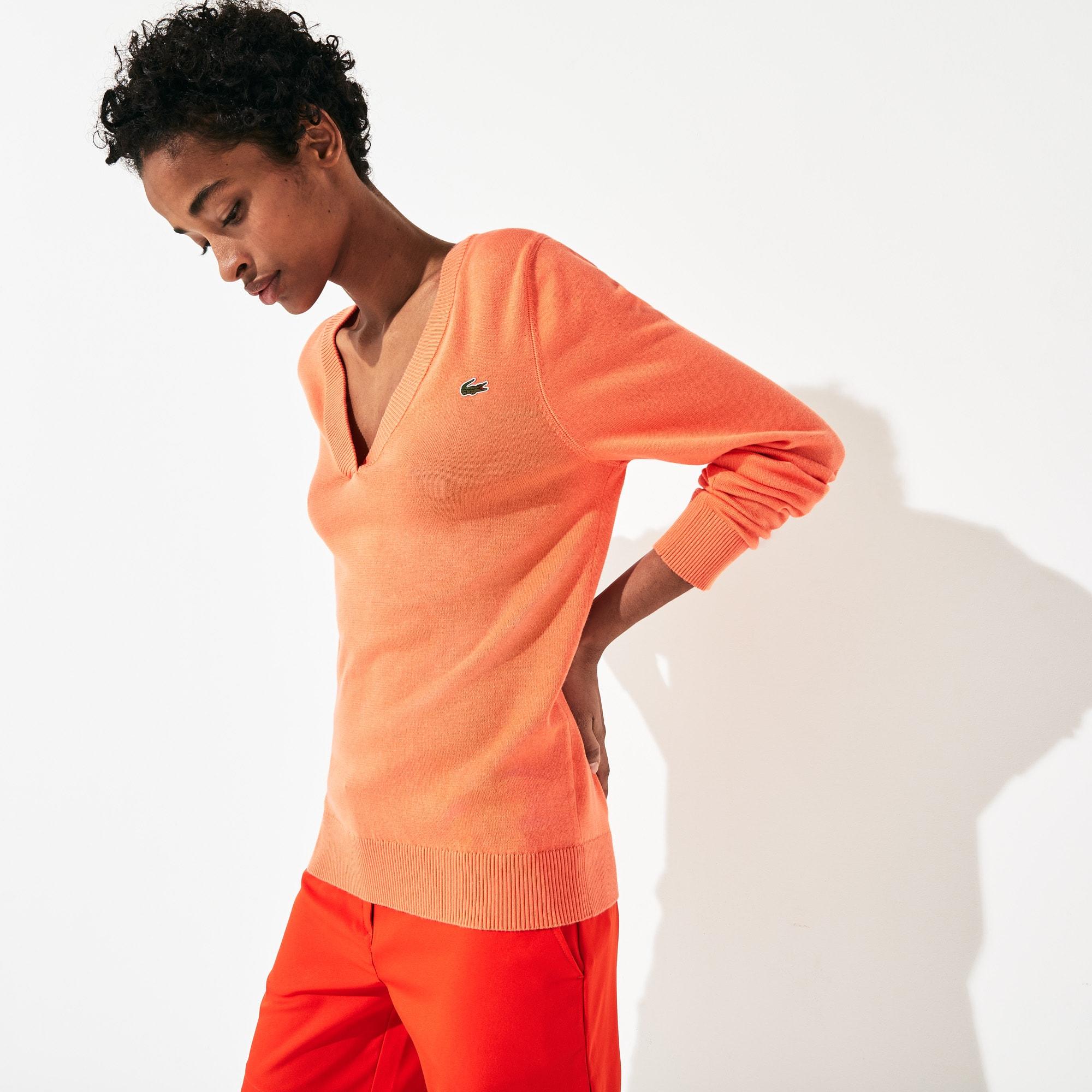 라코스테 스포츠 우먼 브이넥 스웨터 Lacoste Women's SPORT V-neck Sweater,Orange