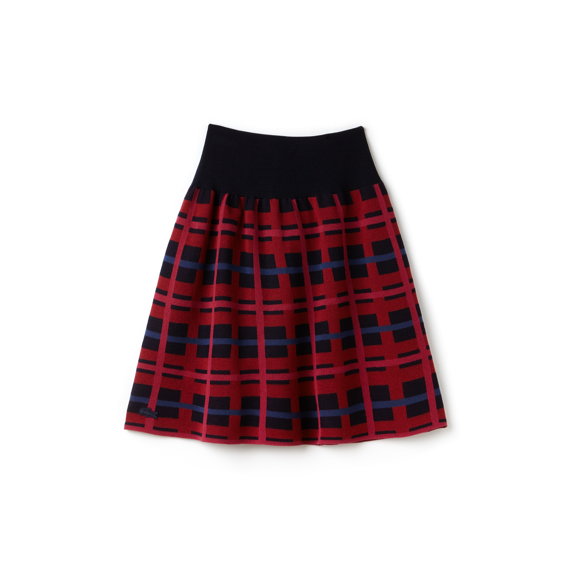 Women's Graphic Check Wool And Cotton Jacquard Flared Skirt