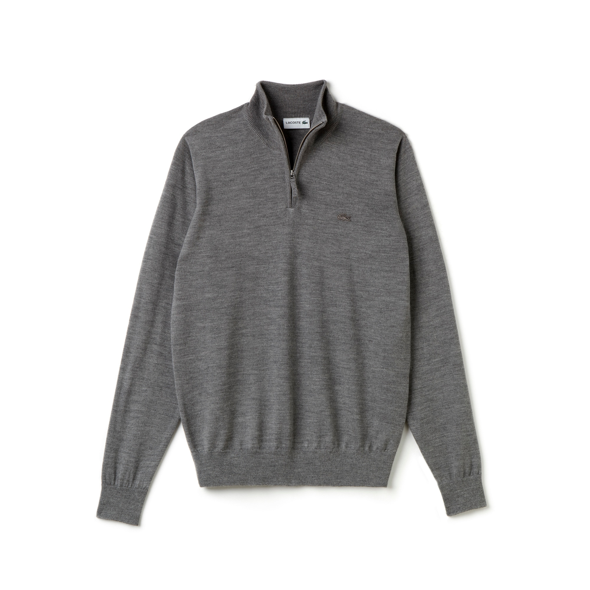 fe2701cad363 ... Men s Zippered Stand-Up Collar Wool Jersey Sweater