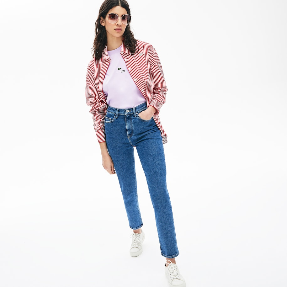 Women's LIVE High-Rise Washed Cotton Jeans