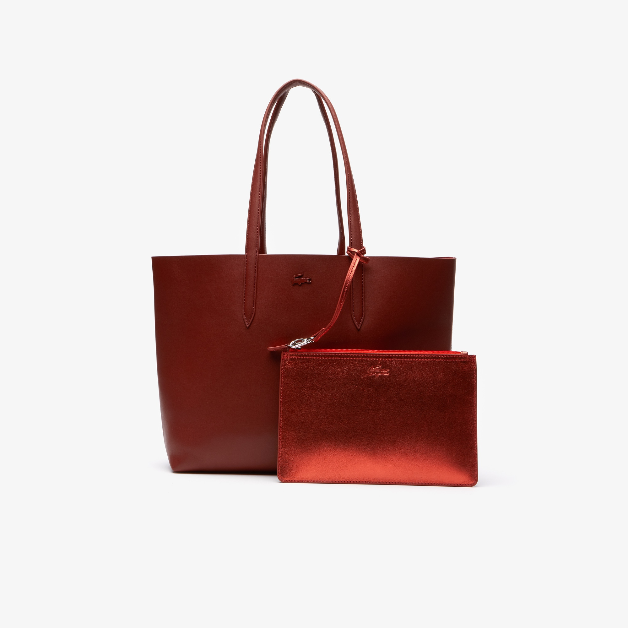 라코스테 Lacoste Womens Anna Reversible Matte And Iridescent Leather Tote,burnt henna 2034