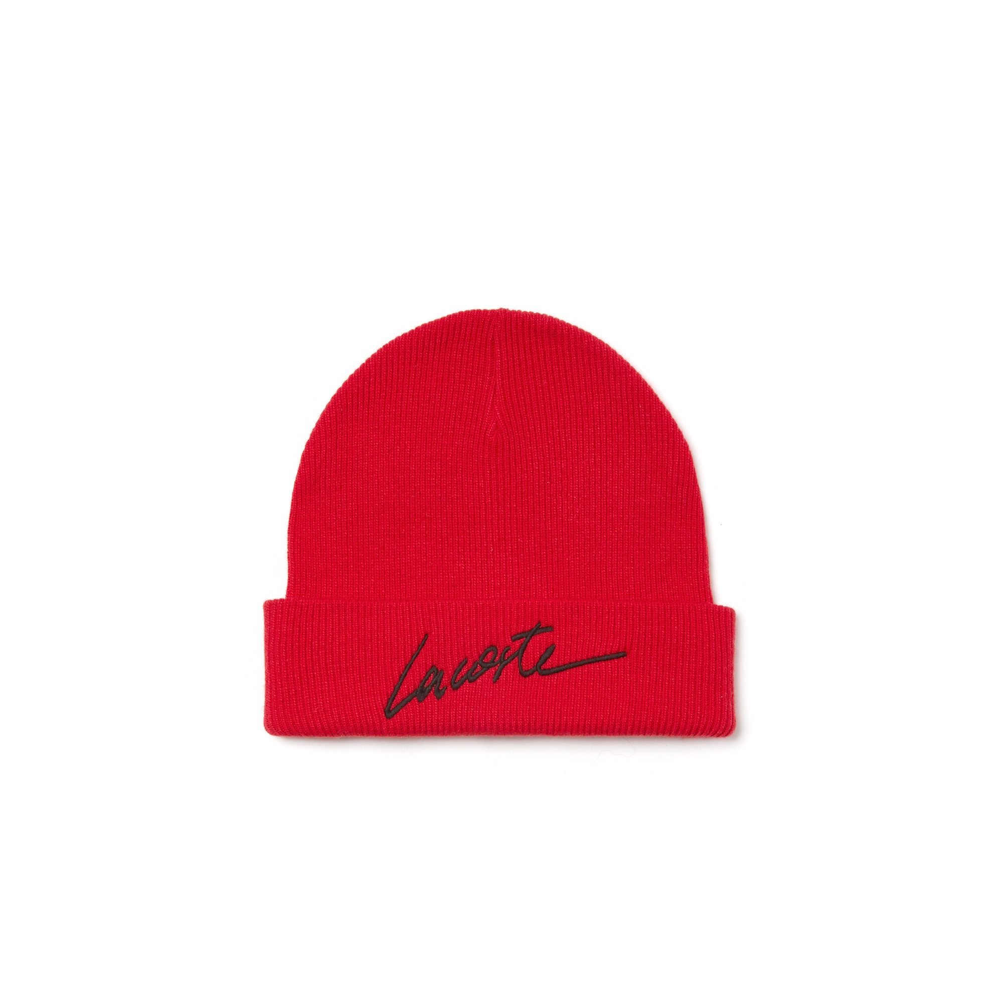 Unisex 라코스테 Lacoste LIVE Turned Edge Ribbed Wool Beanie,red/black