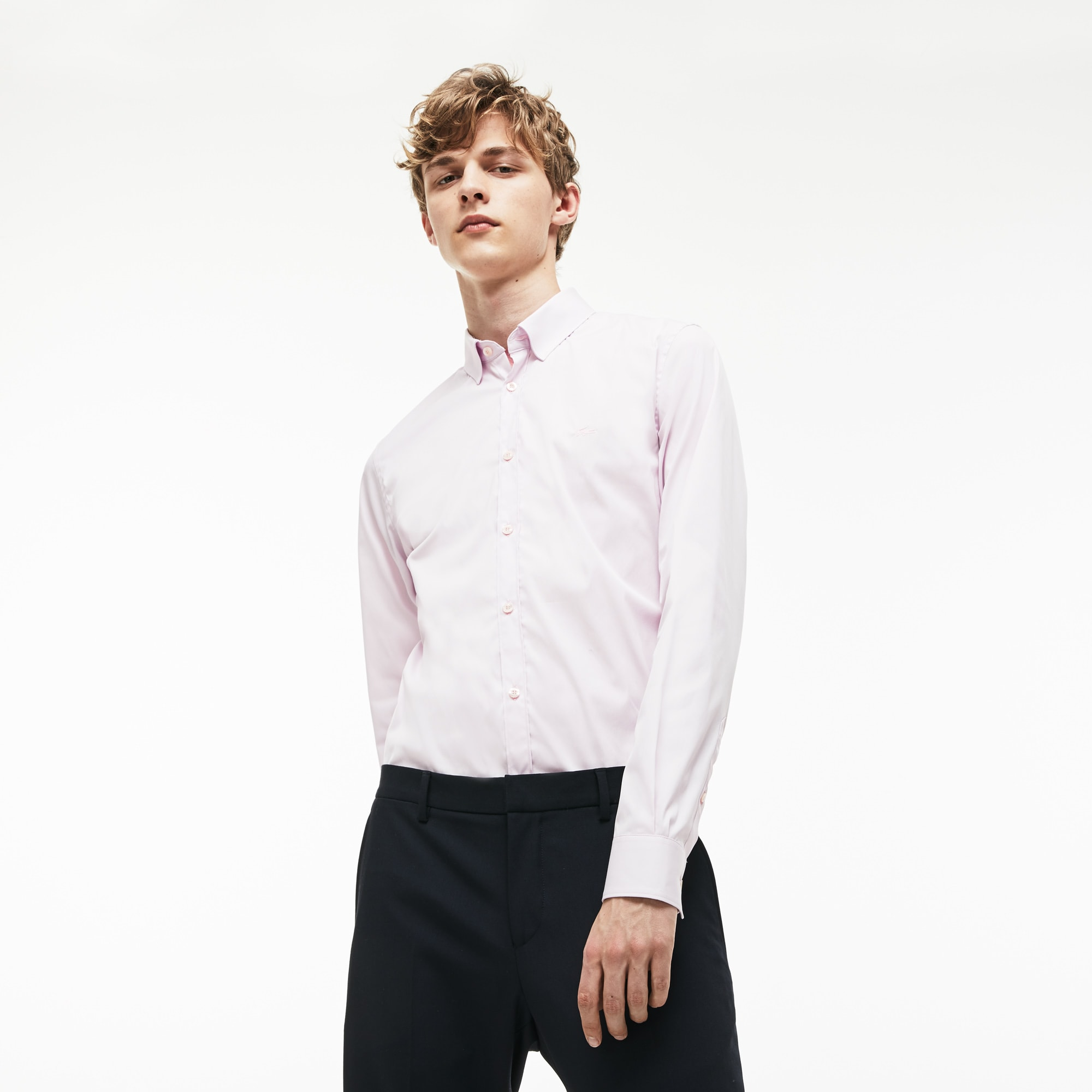 라코스테 Lacoste Mens Slim Fit Stretch Cotton Poplin Shirt,Pink HSK