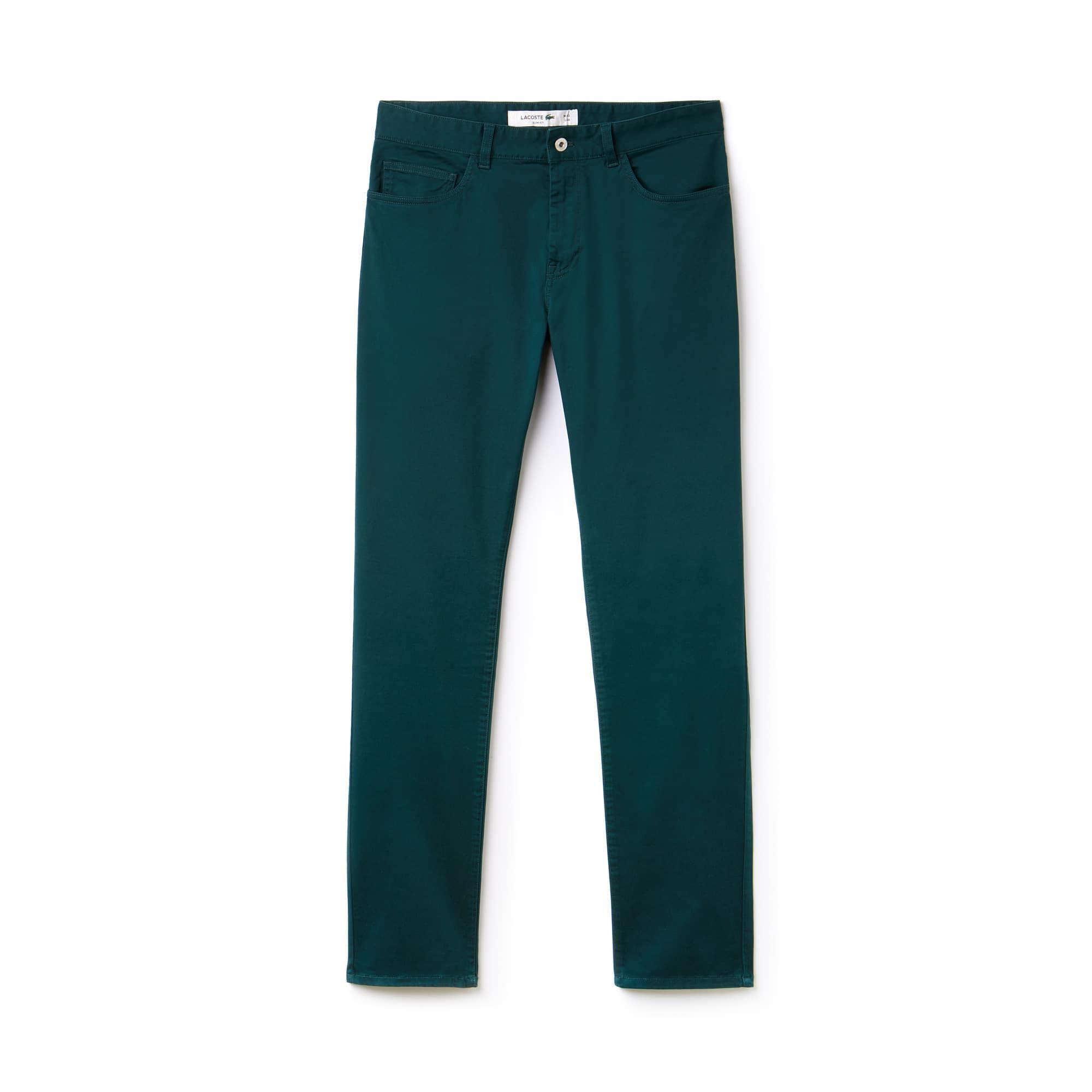 라코스테 Lacoste Mens Slim Fit Stretch Cotton Pants,green