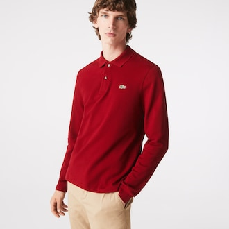 라코스테 Lacoste Mens Long-sleeve L.12.12 Polo Shirt,Bordeaux - 476 (Selected colour)