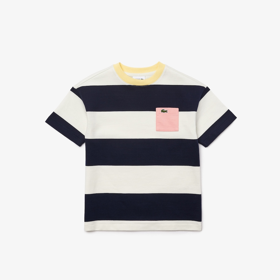 Girls' Crewneck Rugby Striped Cotton T-shirt