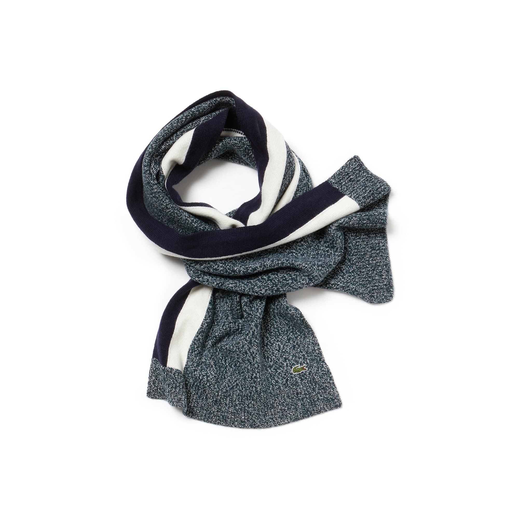 라코스테 Lacoste Mens Contrast Band Mouline Wool Jersey Scarf,aconit mouline/navy blue-