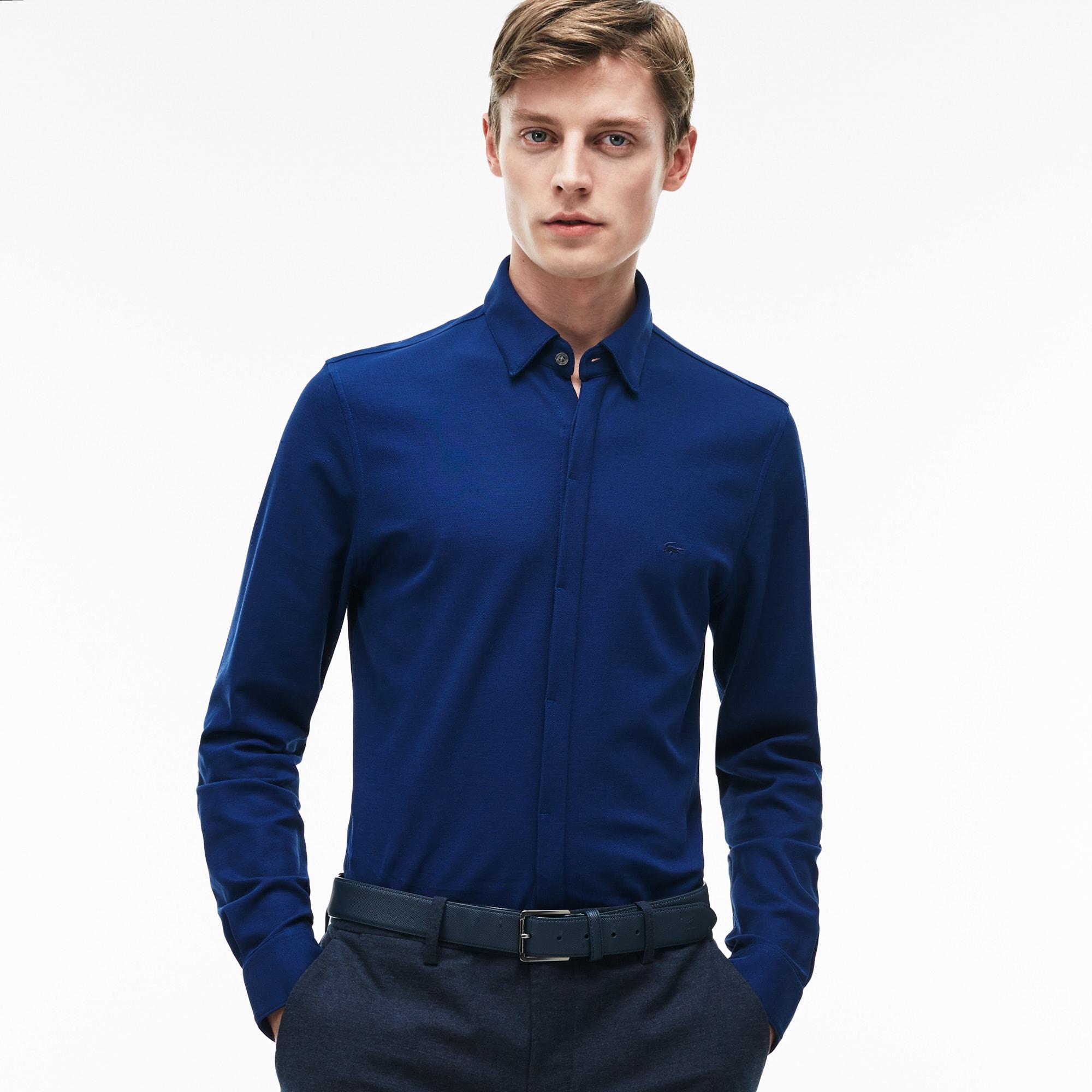 Men's Slim Fit Texturized Cotton Jersey Shirt