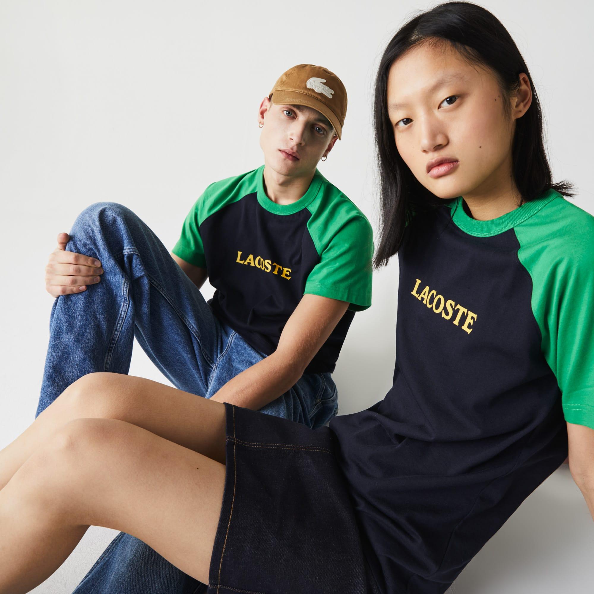 라코스테 남녀공용 라이브 라코스테 Lacoste Unisex LIVE Two-Tone Cotton T-shirt,Navy Blue / Green YS4
