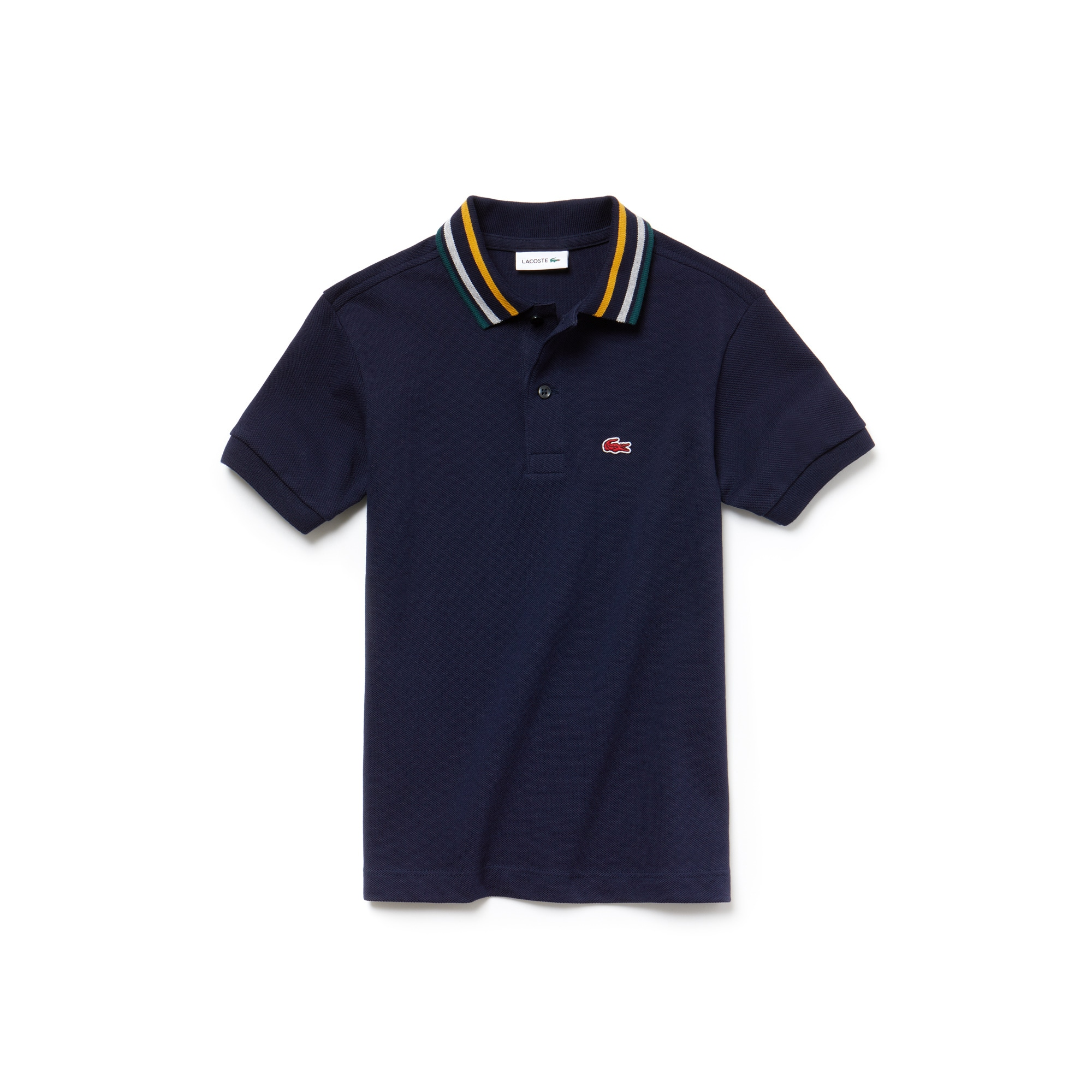 Boys' Striped Neck Petit Piqué Polo