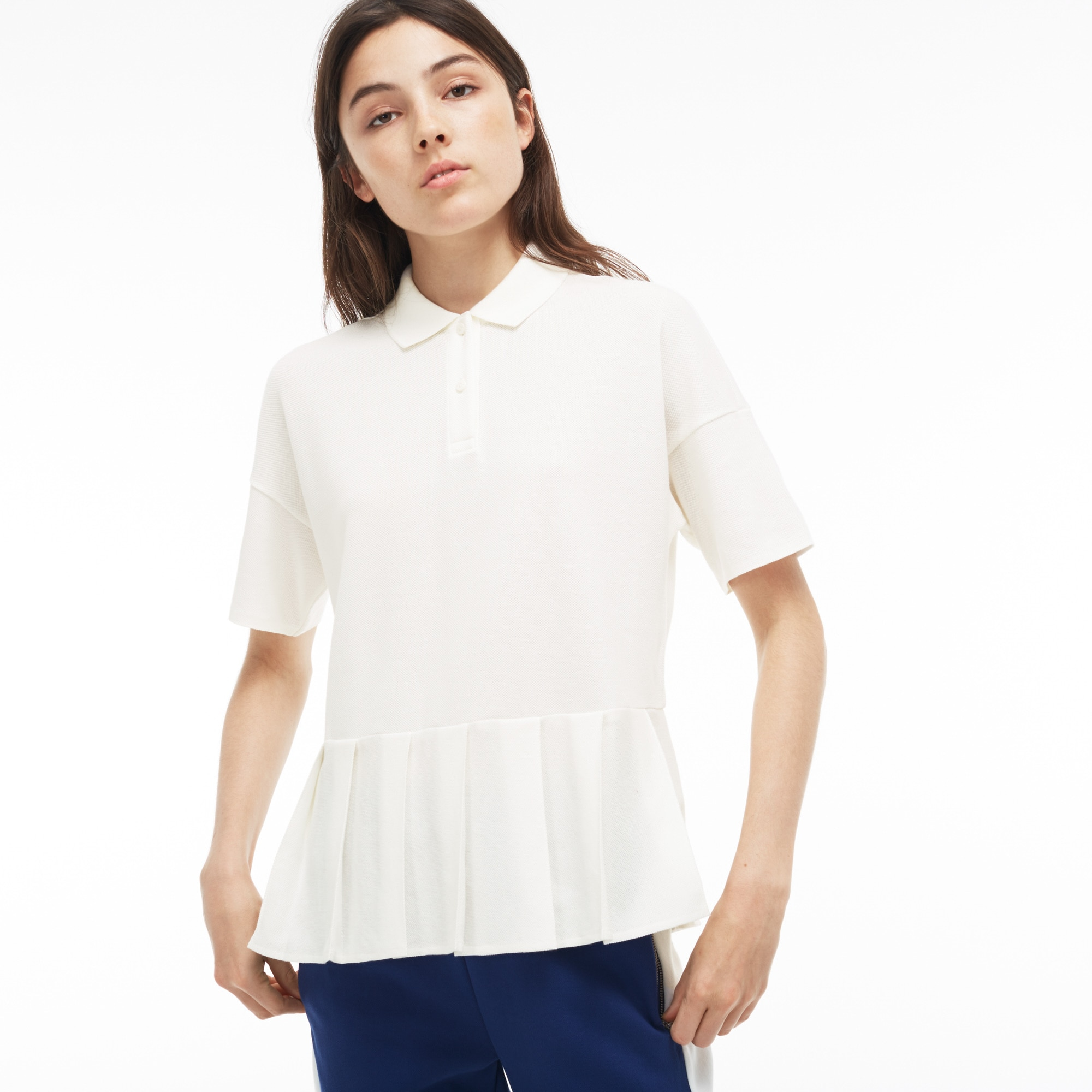 Women'S Pleated Thick Cotton Piqué Polo in White from Lacoste