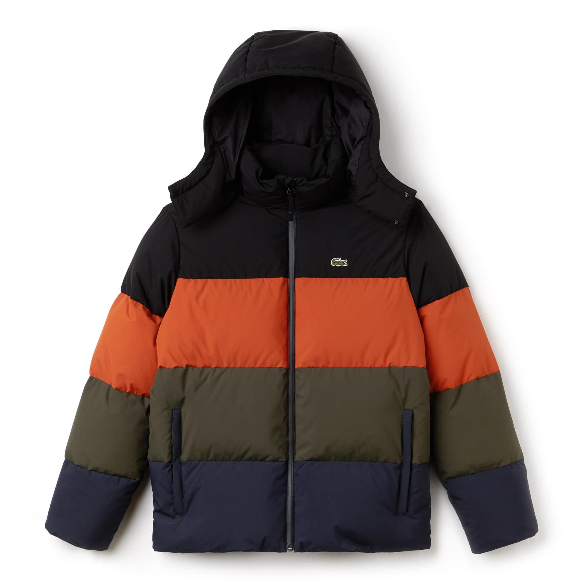 라코스테 Lacoste Mens Detachable Hood Quilted Water-Resistant Taffeta Jacket,nevada orange/meridian bl