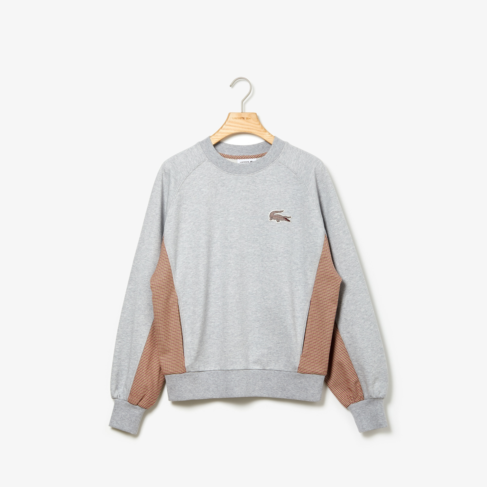 Lacoste Tops Women's Crewneck Check-Paneled Sweatshirt
