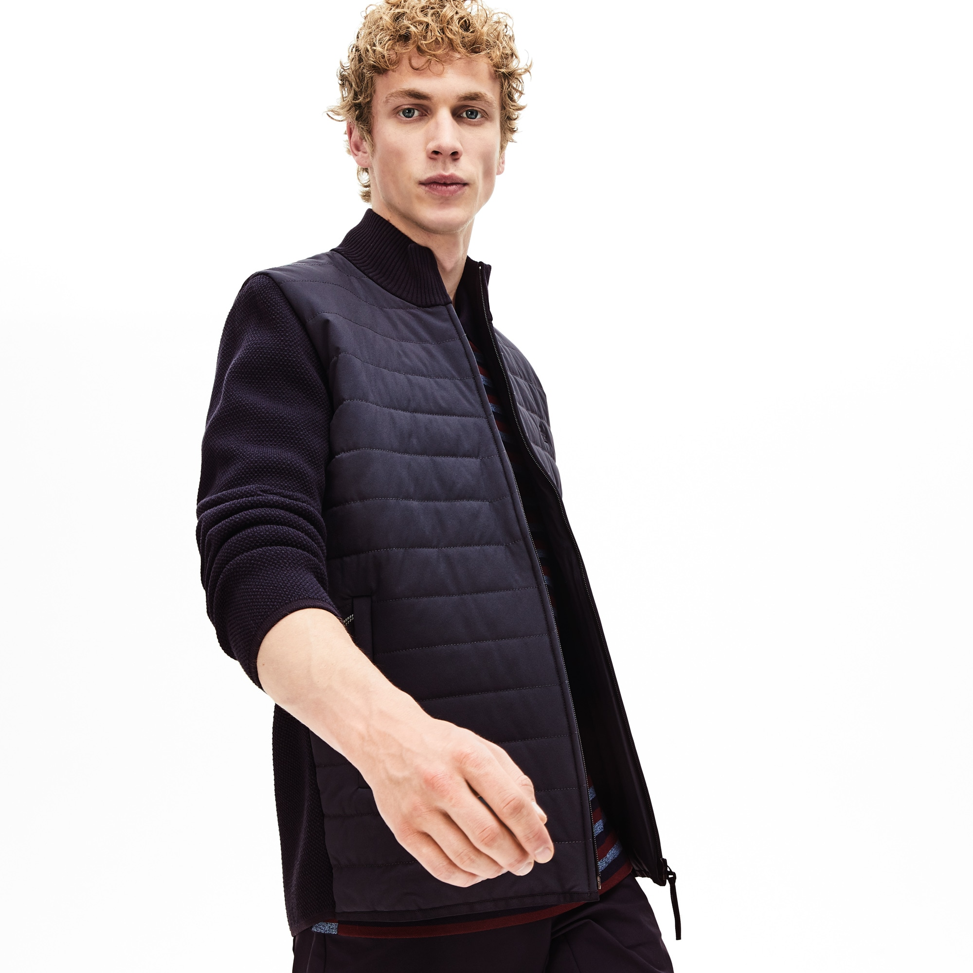2c561201a36 Men's Lacoste Motion Bi-Material Quilted Hybrid Zip Cardigan