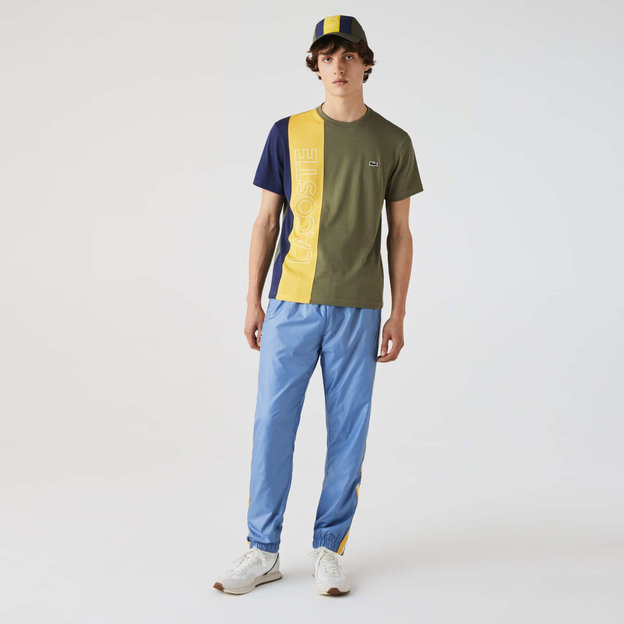 라코스테 Lacoste Men's Crewneck Colorblock T-shirt,Khaki Green / Yellow / Blue XHR