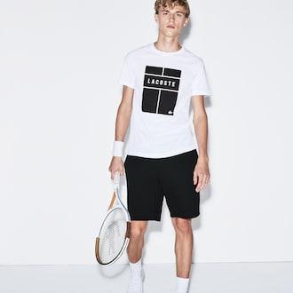라코스테 스포츠 반팔 티셔츠 Lacoste Mens SPORT Crew Neck Lettering Jersey Tennis T-shirt,White / Black / White