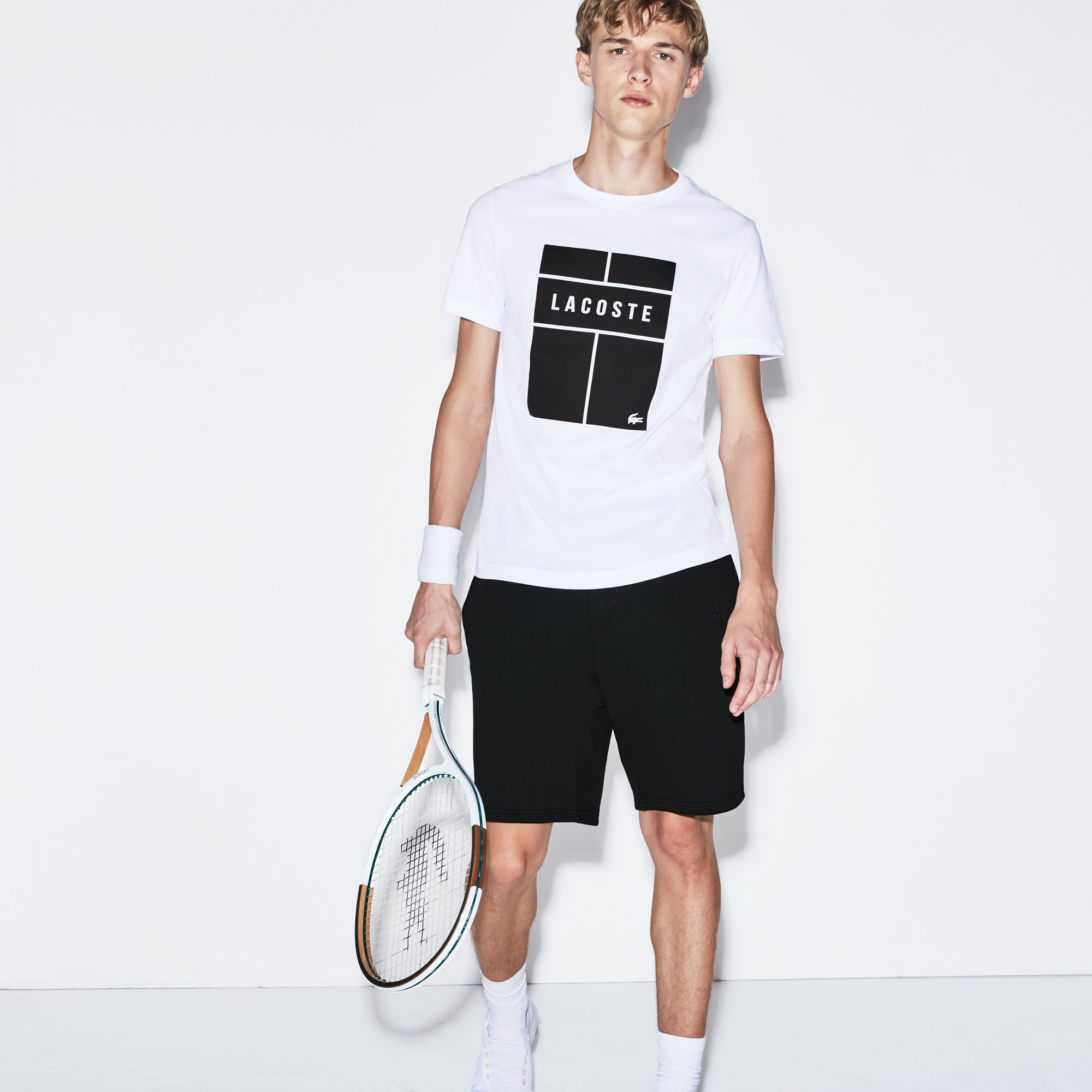 Men's SPORT Crew Neck Lettering Jersey Tennis T-shirt