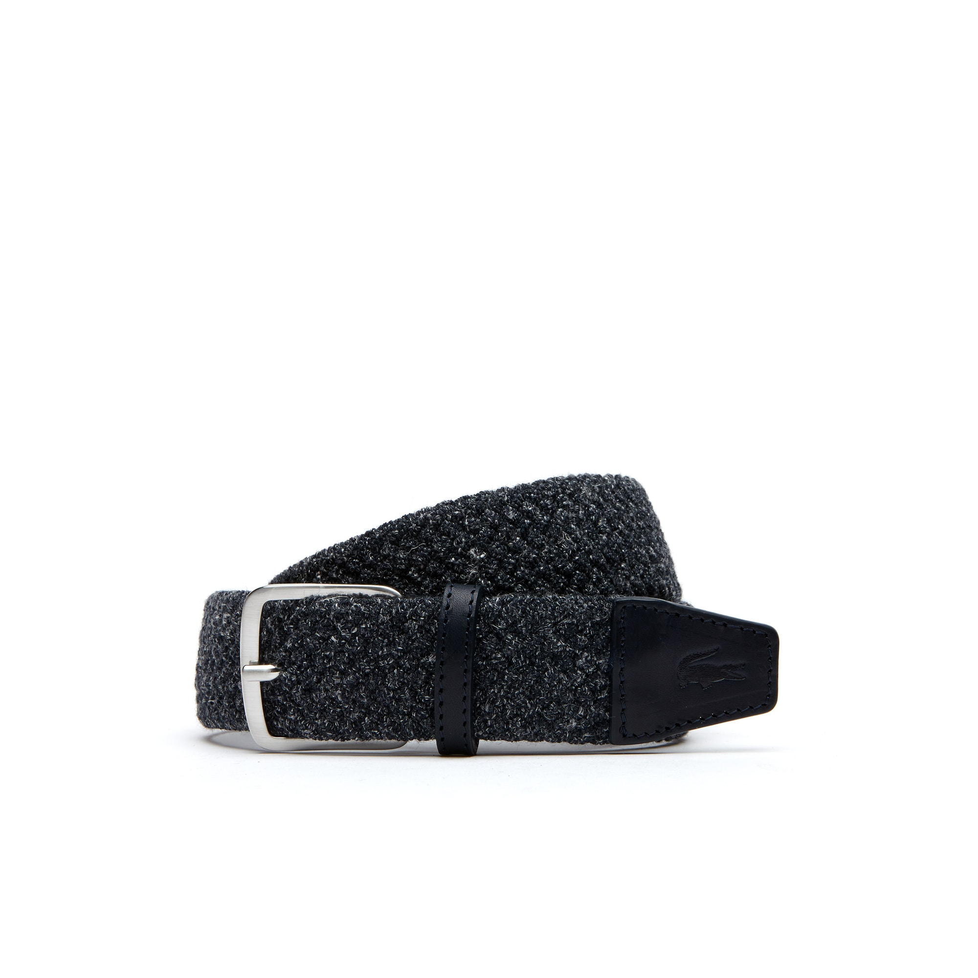 Men's Woven Linen And Polyester Belt With Tongue Buckle
