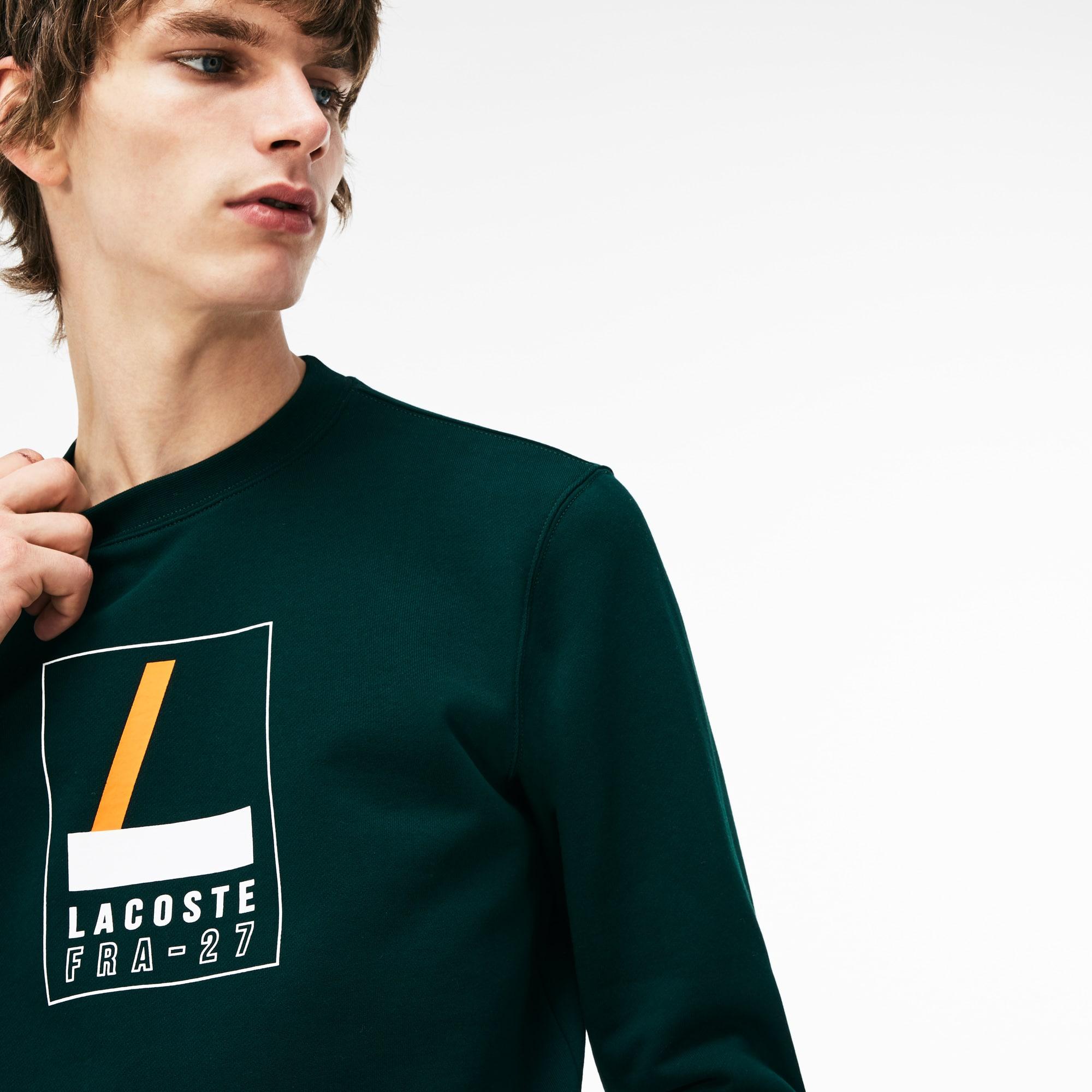 Men's Crew Neck Print Fleece Sweatshirt