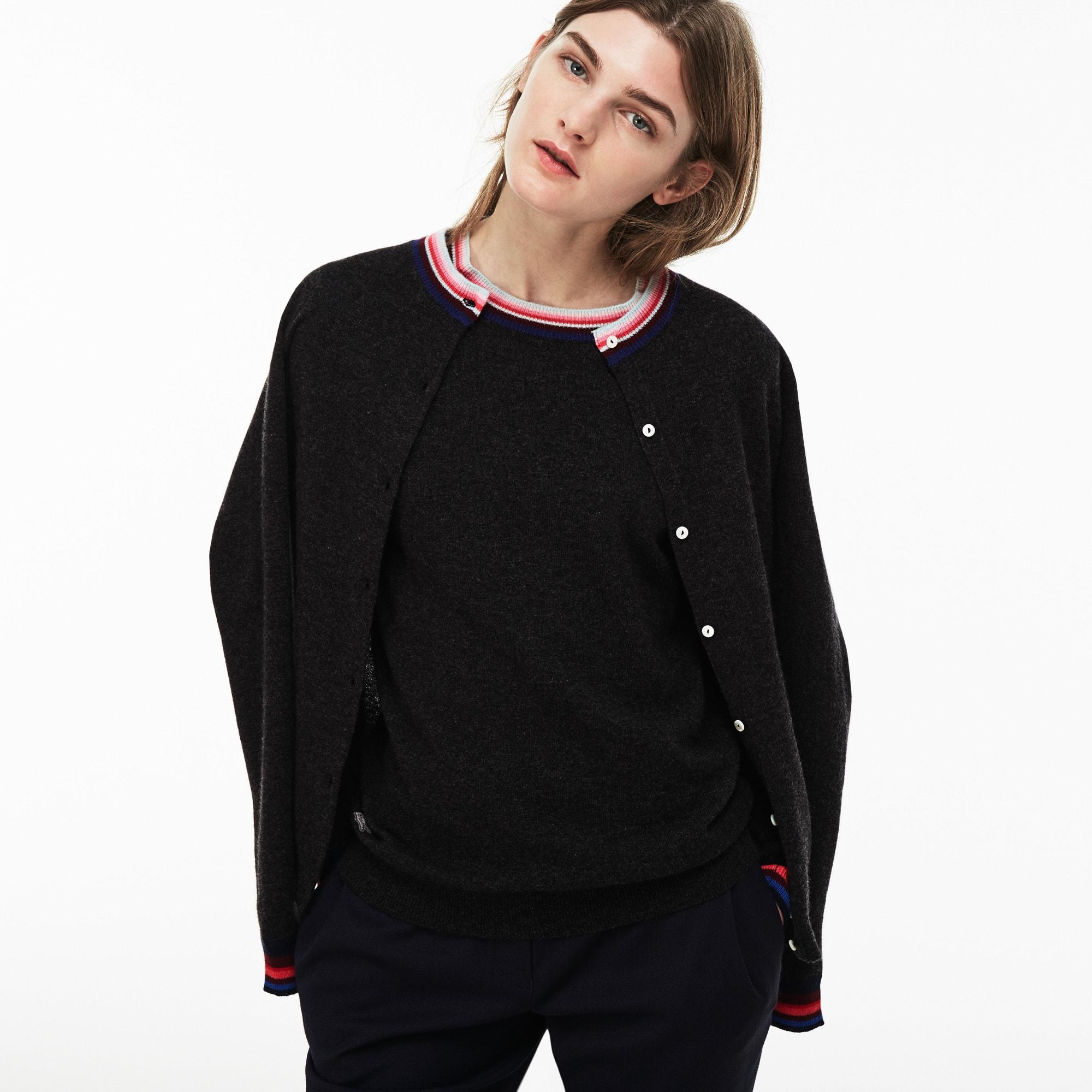 Women's Cashmere Jersey Striped Details Cardigan