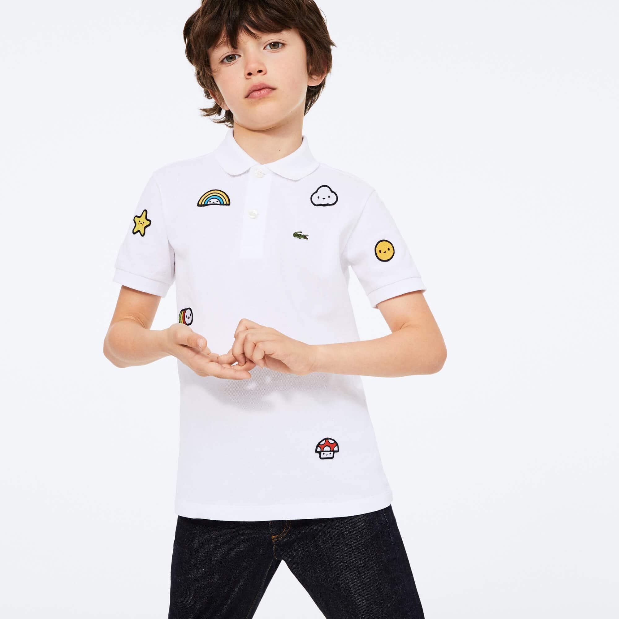 라코스테 x 프렌즈 위드유 콜라보 폴로티 남아용 Lacoste x FriendsWithYou Design Cotton Polo Shirt,White