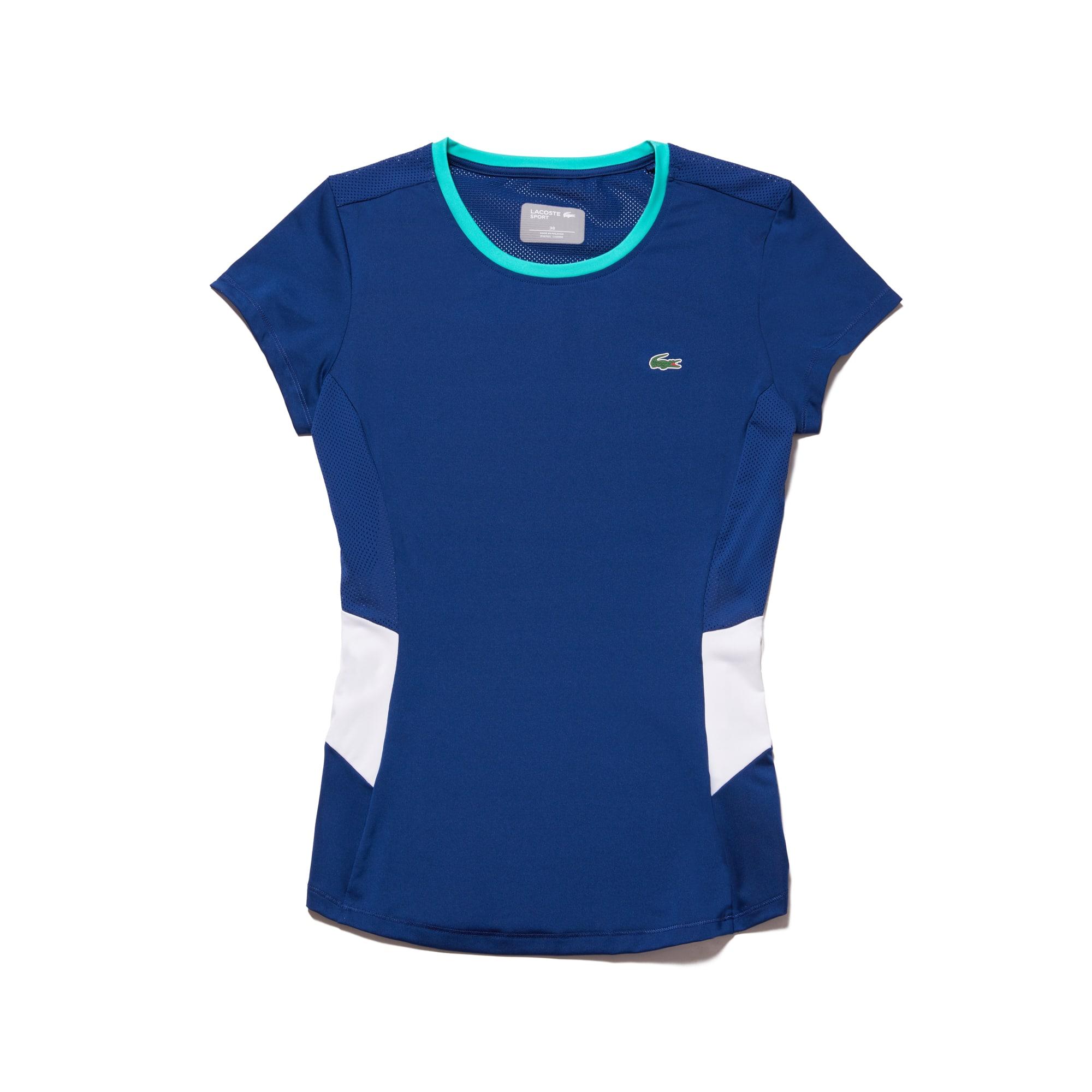 라코스테 Lacoste Womens SPORT Crew Neck Stretch Jersey Tennis T-shirt,navy blue / white / green