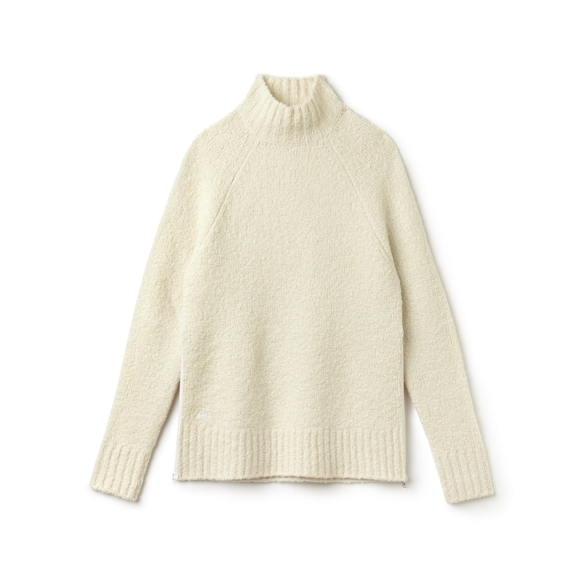 Women's Stand-Up Collar Wool Loop-Pile And Alpaca Sweater