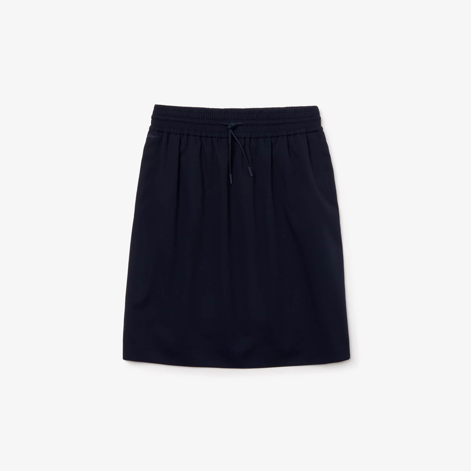 라코스테 Lacoste Womens Elasticised Waistband Pique Mid-Length Skirt,Navy Blue
