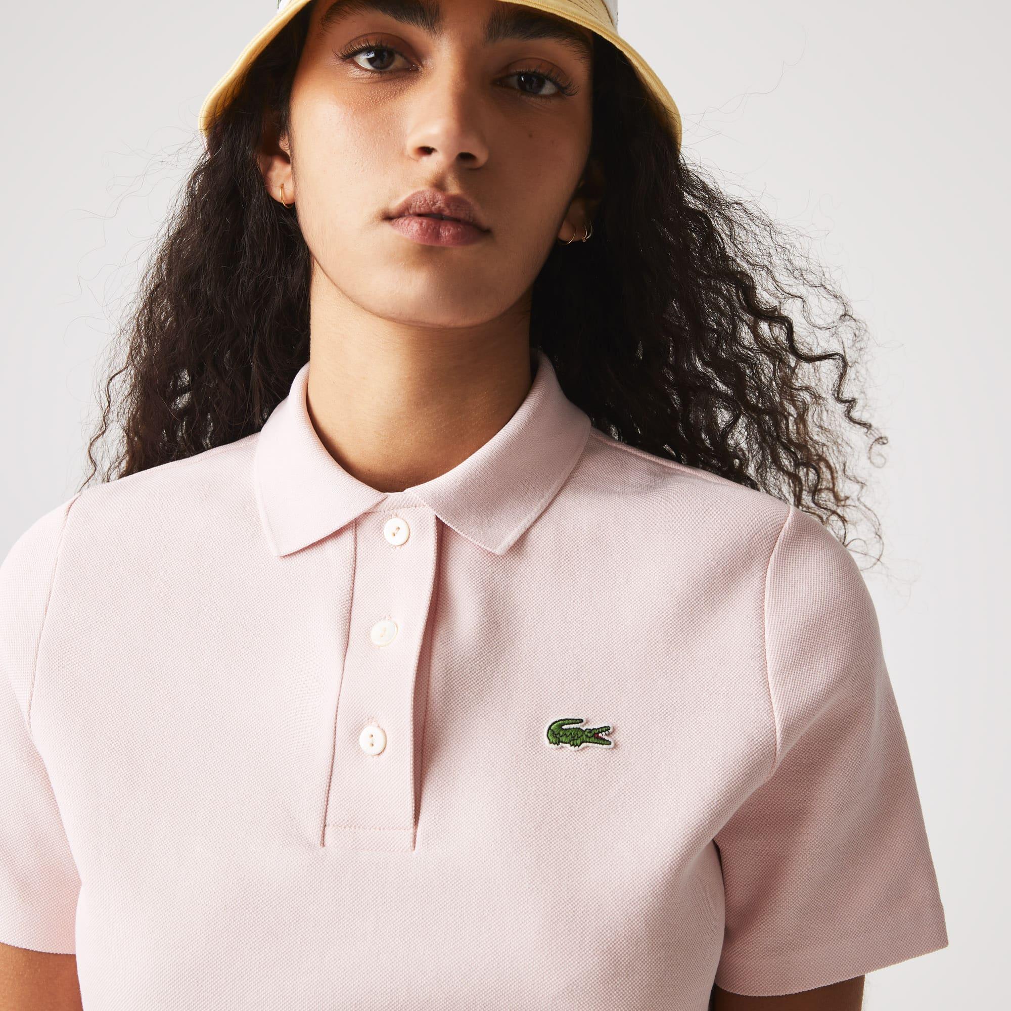 Women's Lacoste Regular Fit Striped Organic Cotton Polo Shirt