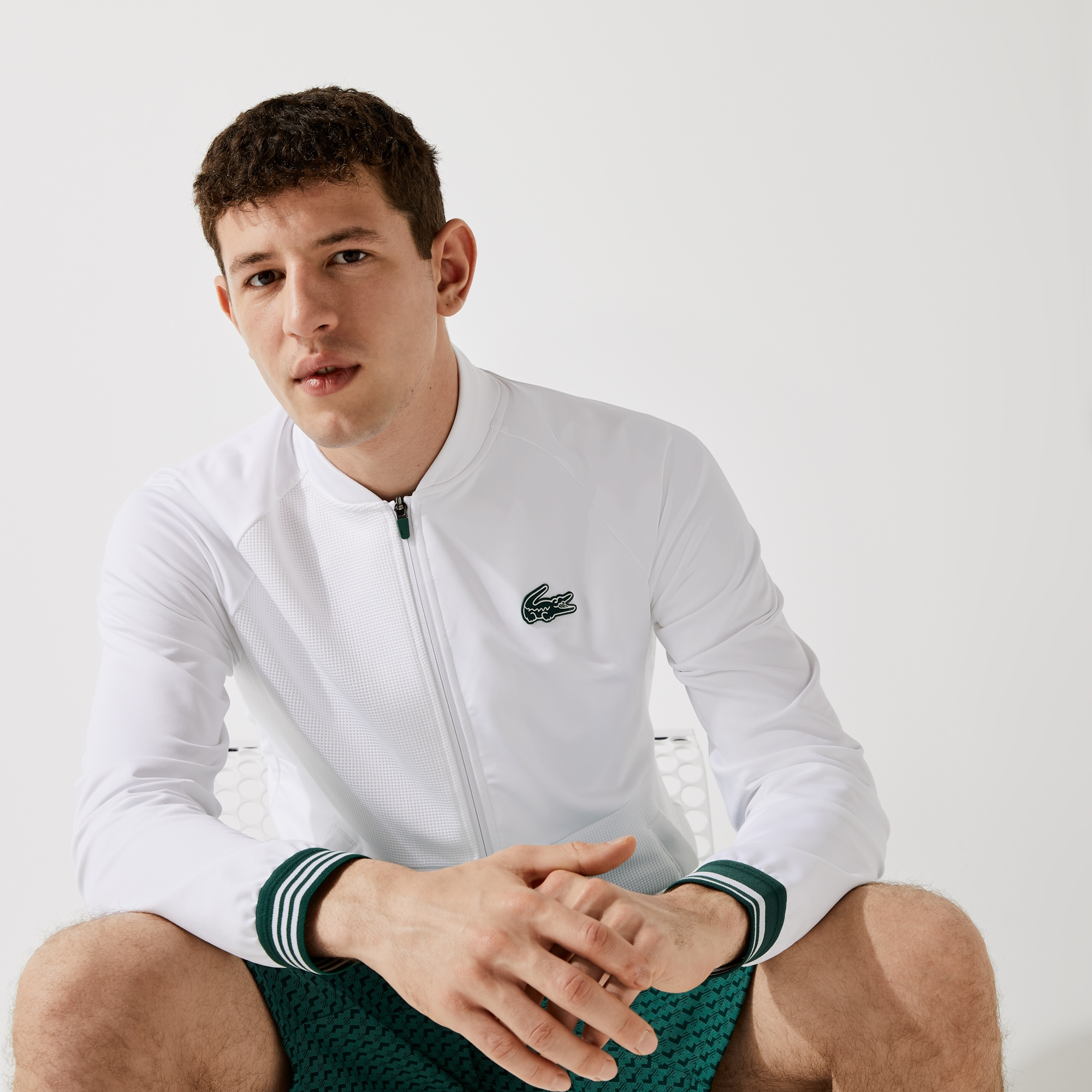 라코스테 맨 스포츠 집업 맨투맨 Lacoste Men's SPORT Technical Zip Sweatshirt,White / Green 1YU
