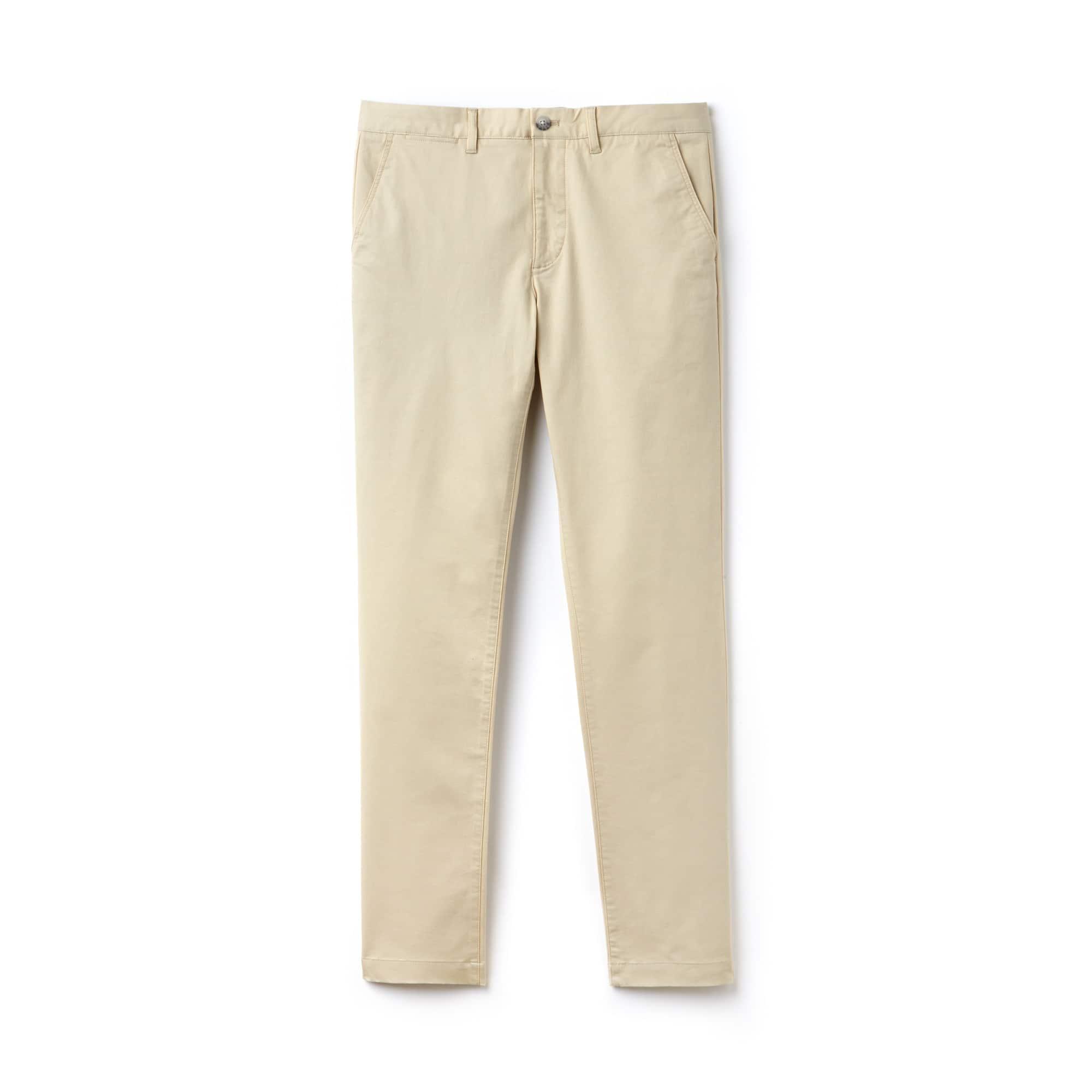 라코스테 Lacoste Mens Slim Fit Stretch Gabardine Chino Pants,beige