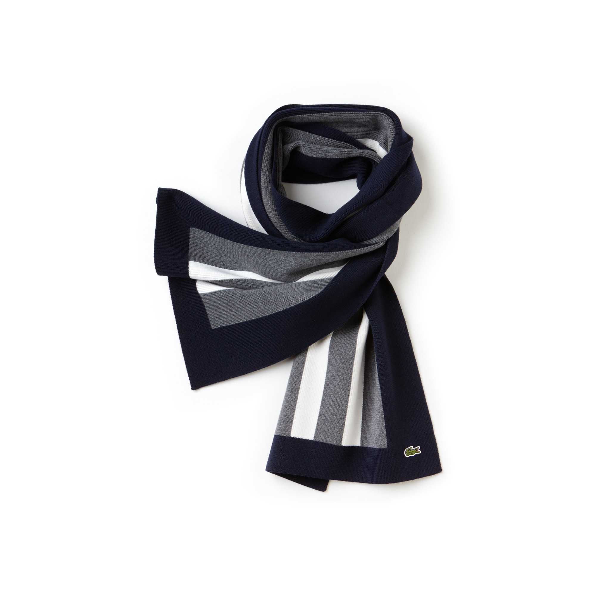 Men's Striped Lightweight Ribbed Wool Scarf