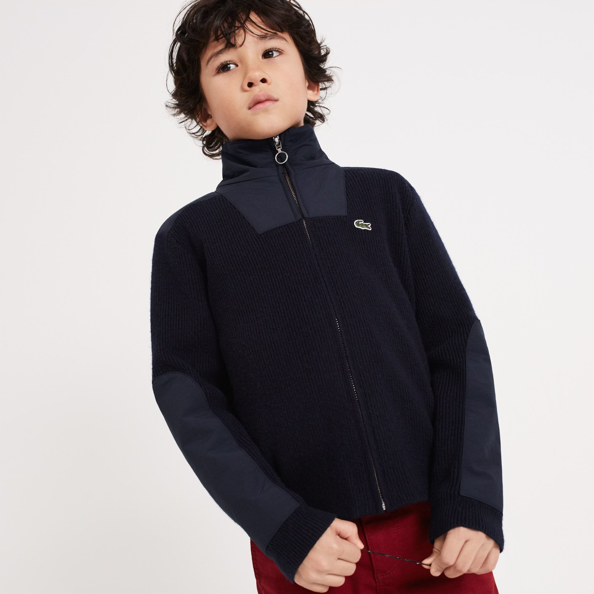 Boys' Stand-Up Collar Ribbed Cotton Blend Zip Sweater