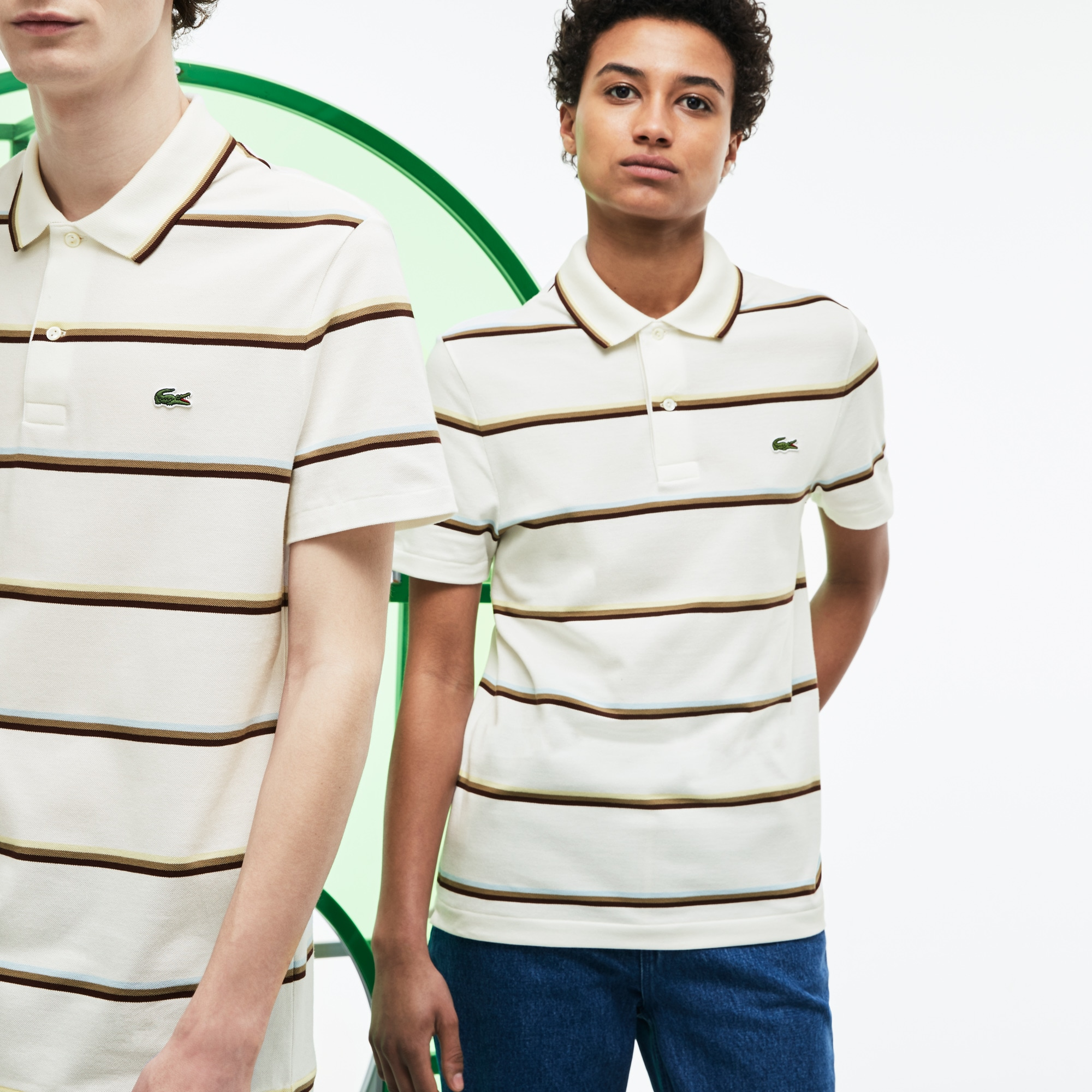 Unisex Fashion Show Colored Stripes Piqué Polo