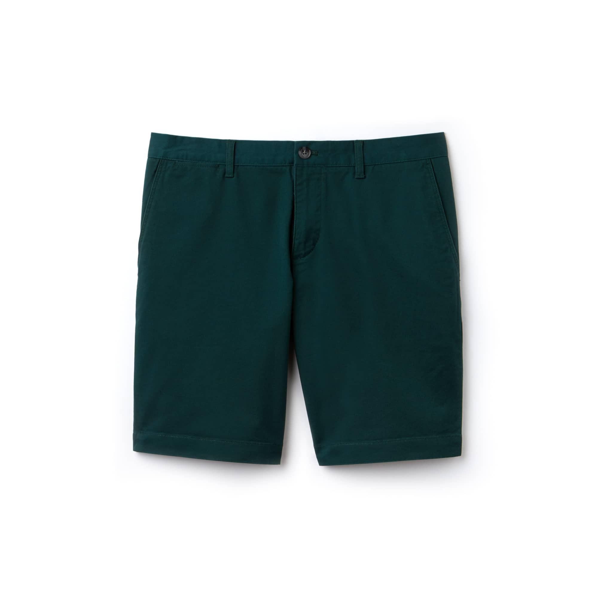 라코스테 Lacoste Mens Slim Fit Stretch Gabardine Bermuda Shorts,green