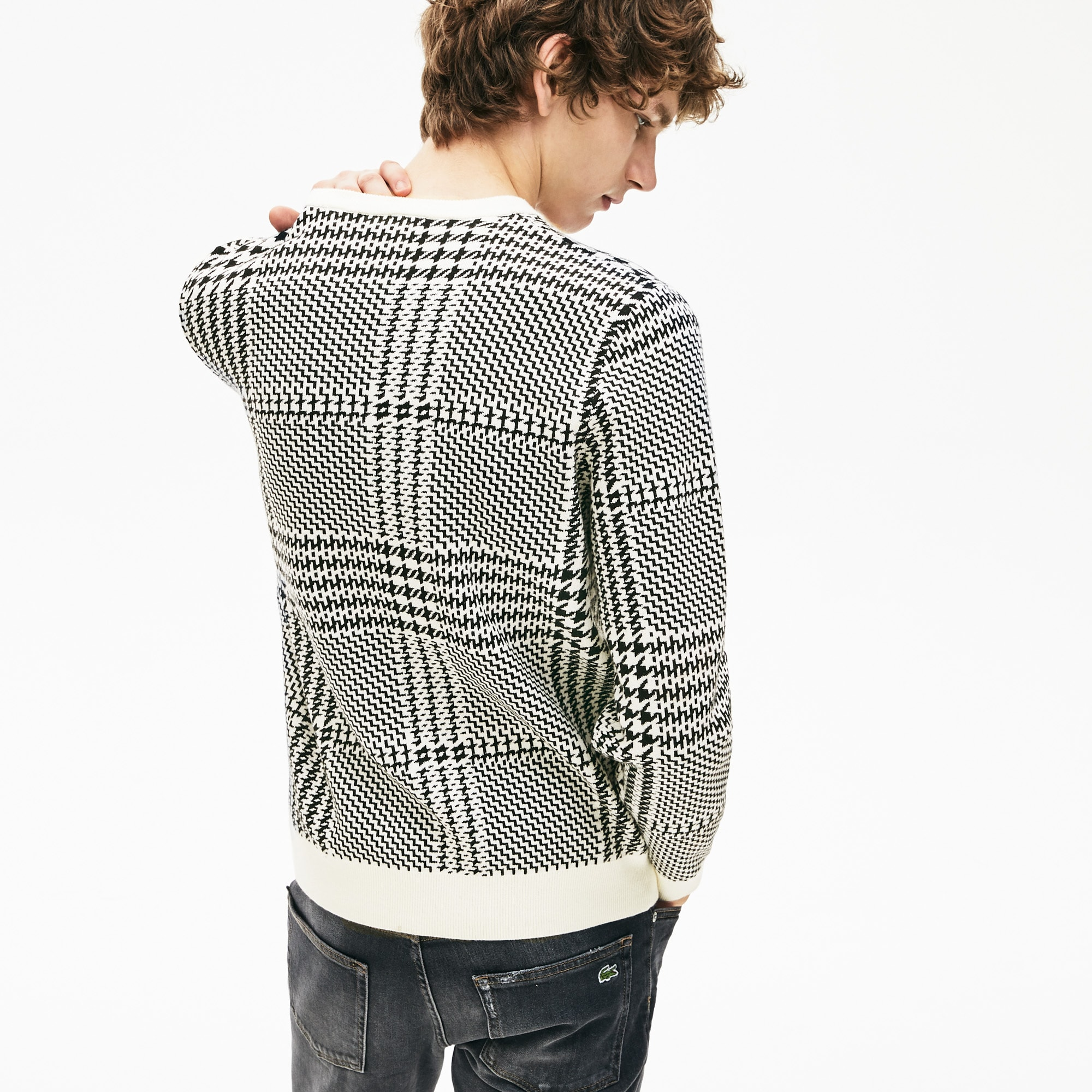 Men's Crewneck Houndstooth Cotton And Cashmere Sweater