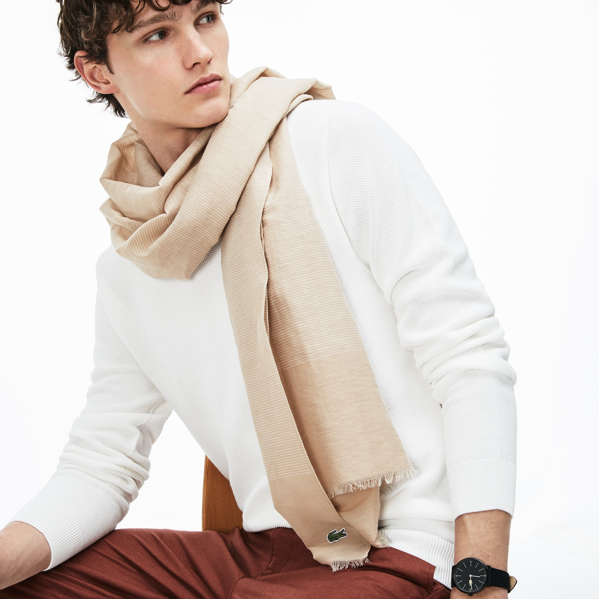 Men's Cotton And Linen Voile Scarf