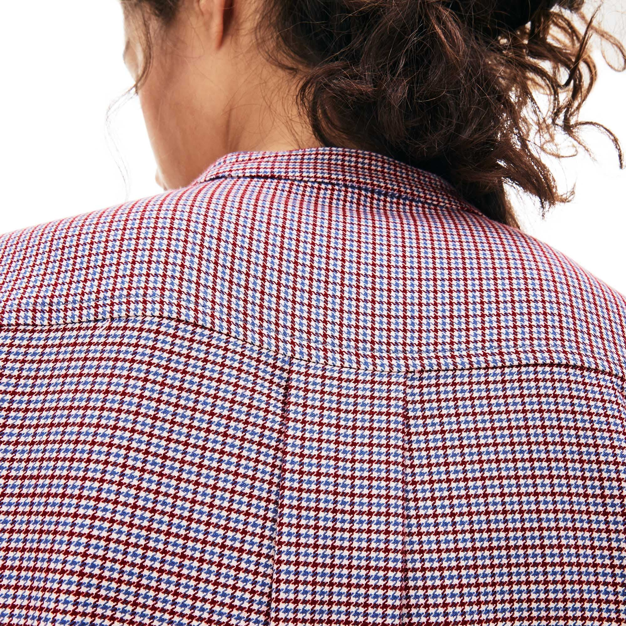 Women's Loose Fit Mao Collar Check Print Shirt