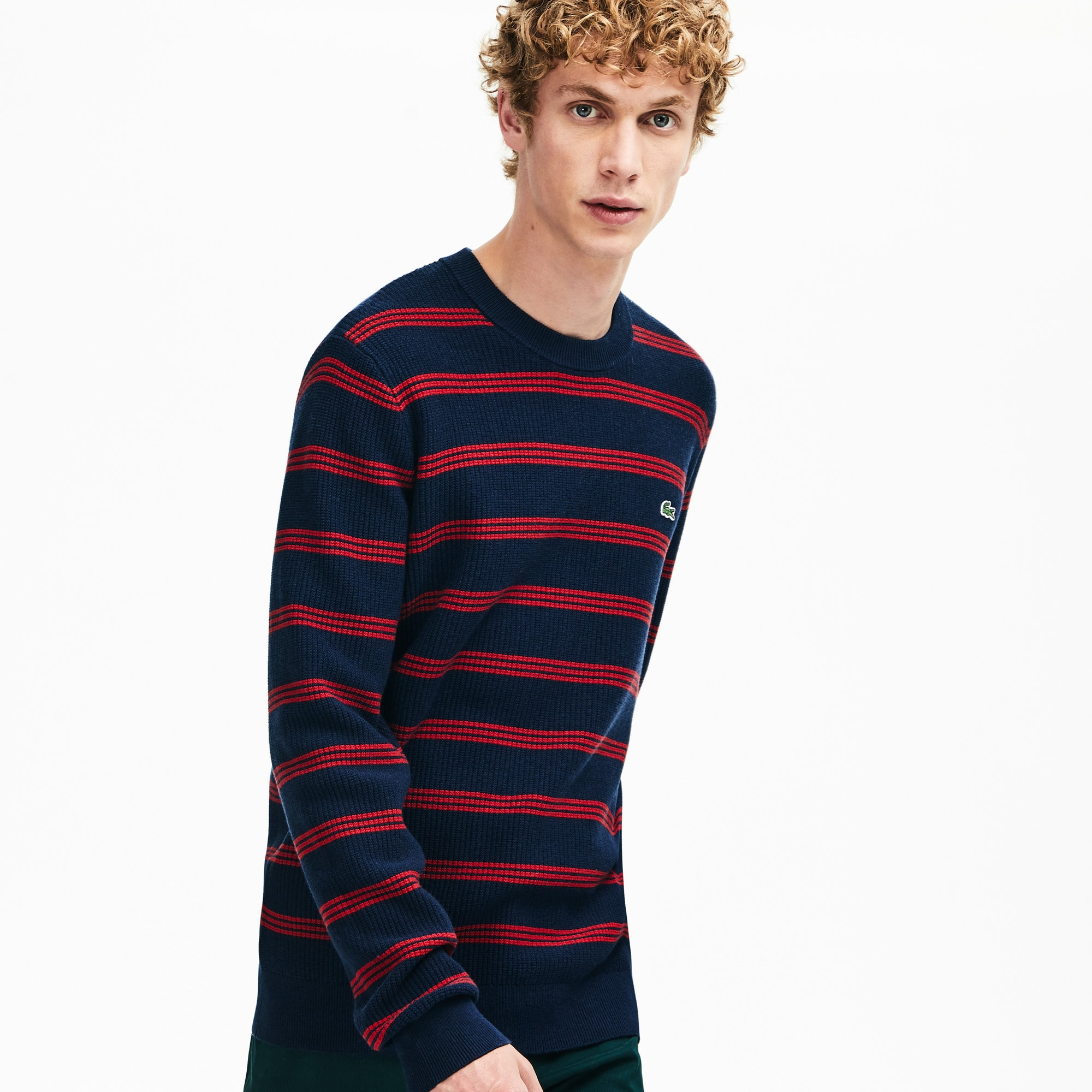 Men's Crewneck Pinstriped Wool and Cotton Sweater