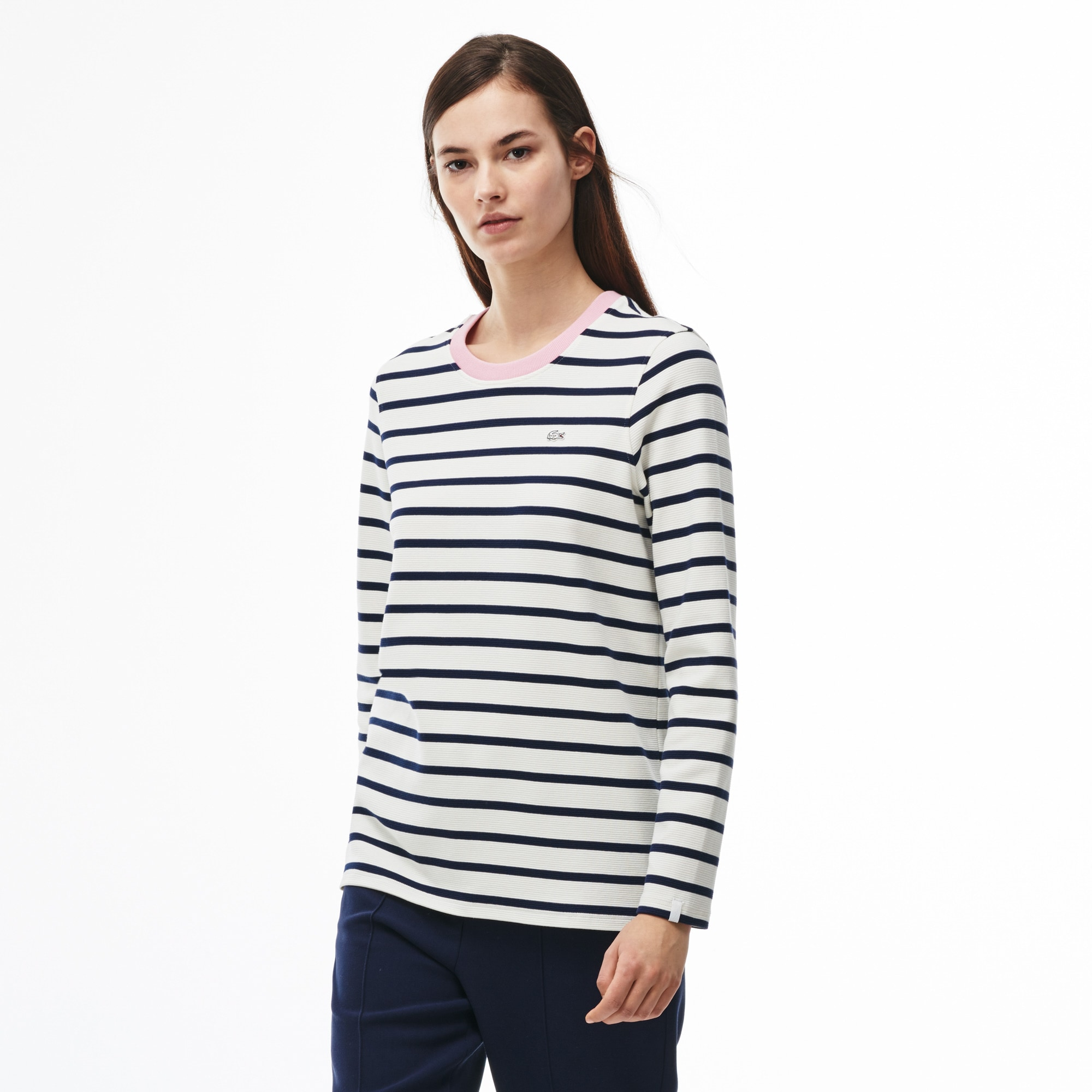 Women's Lacoste LIVE Contrast Collar Ottoman Knit Nautical Shirt