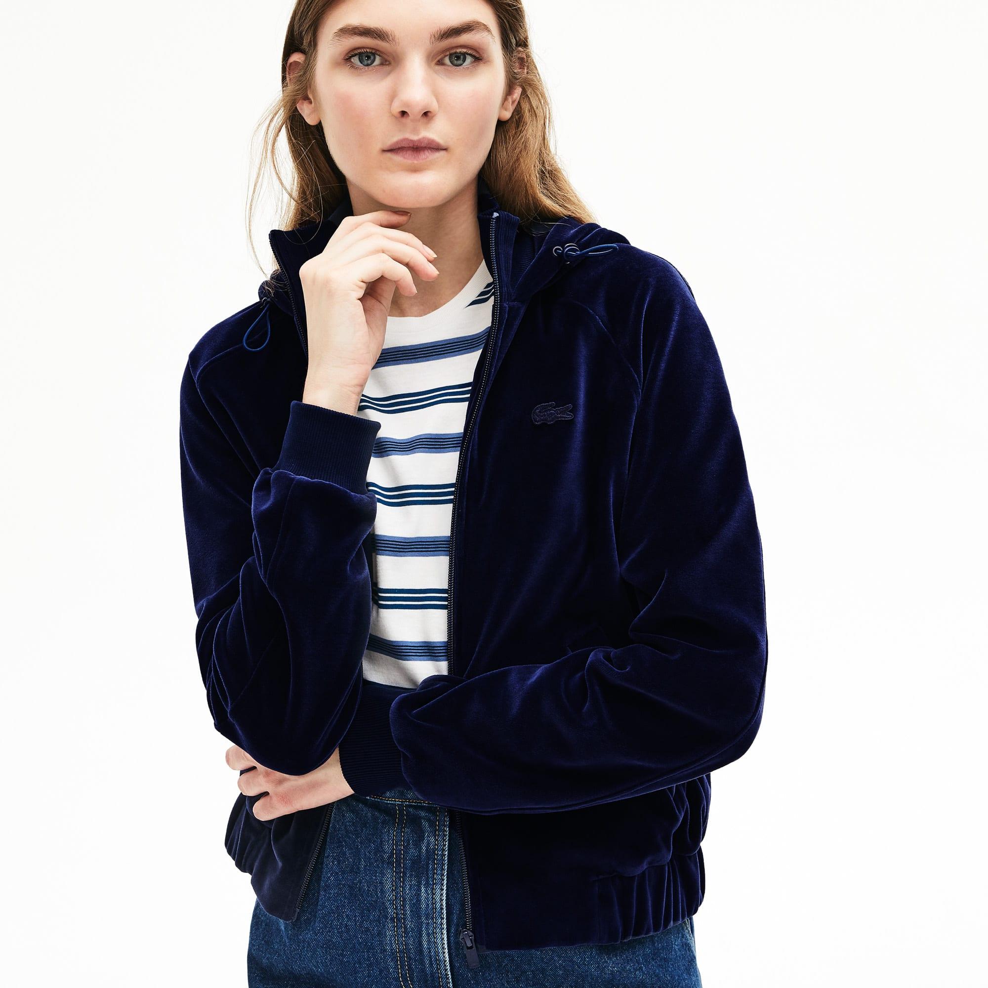 Lacoste Tops Women's Hooded Velour Terry Zip-Front Sweatshirt