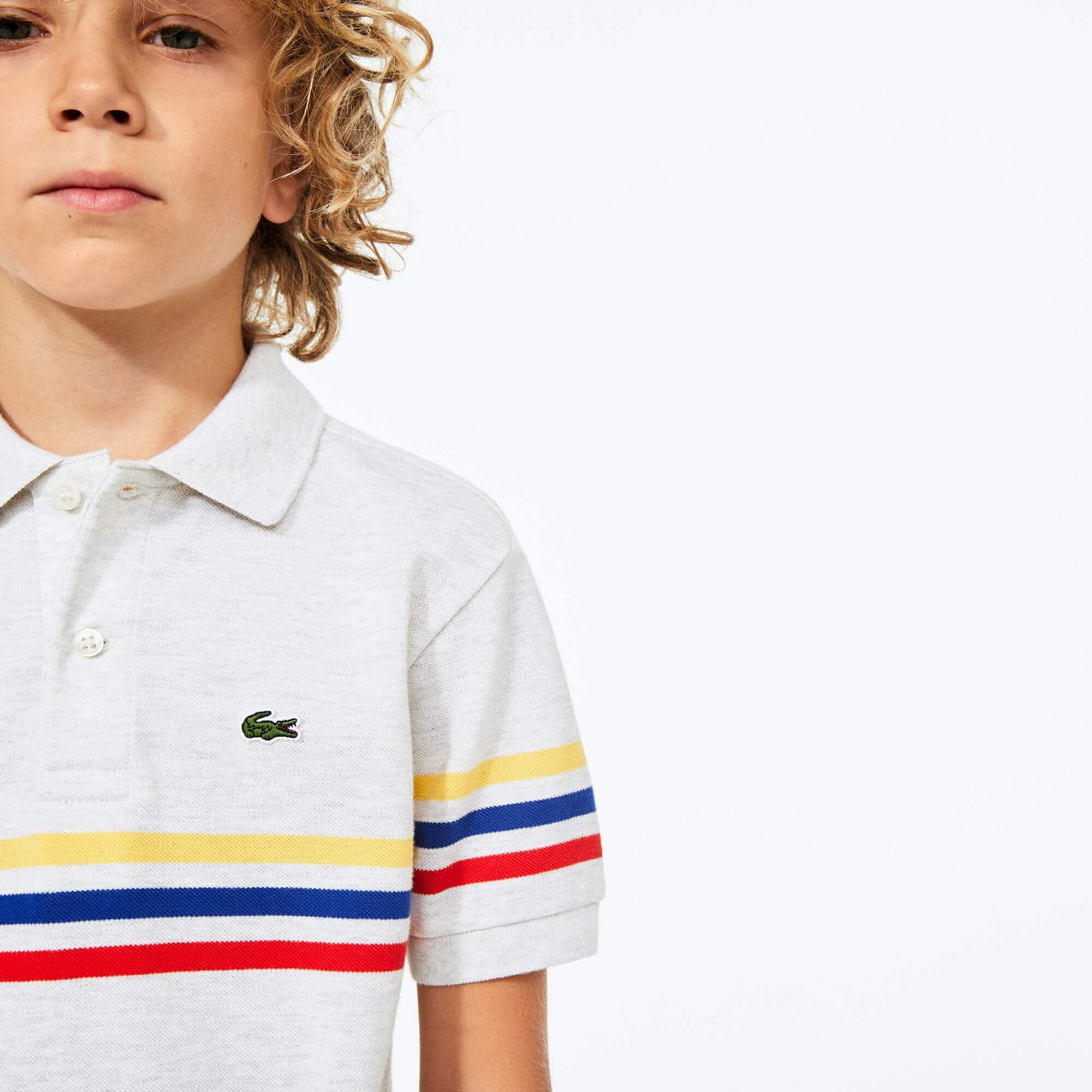 라코스테 보이즈 피케 폴로 Lacoste Boys' Tricolor Striped Cotton Petit Pique Polo,Grey Chine / Red / Blue / Yellow • X7K