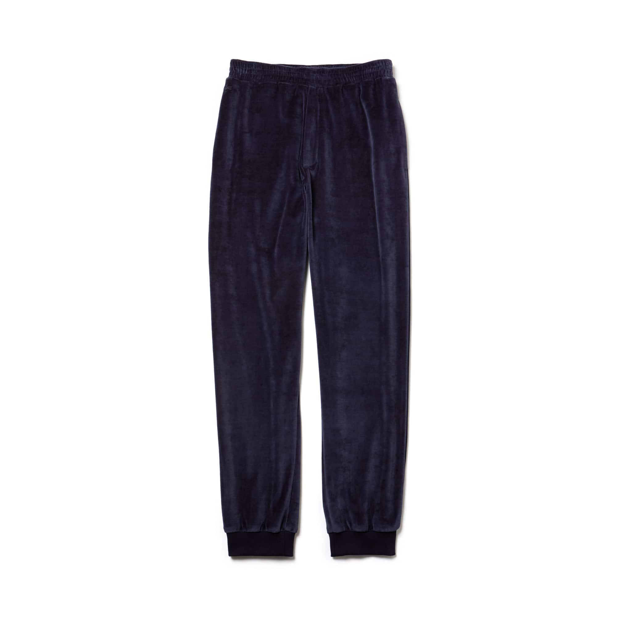 라코스테 Lacoste Mens Fashion Show Quilted Velour Sweatpants,Blue