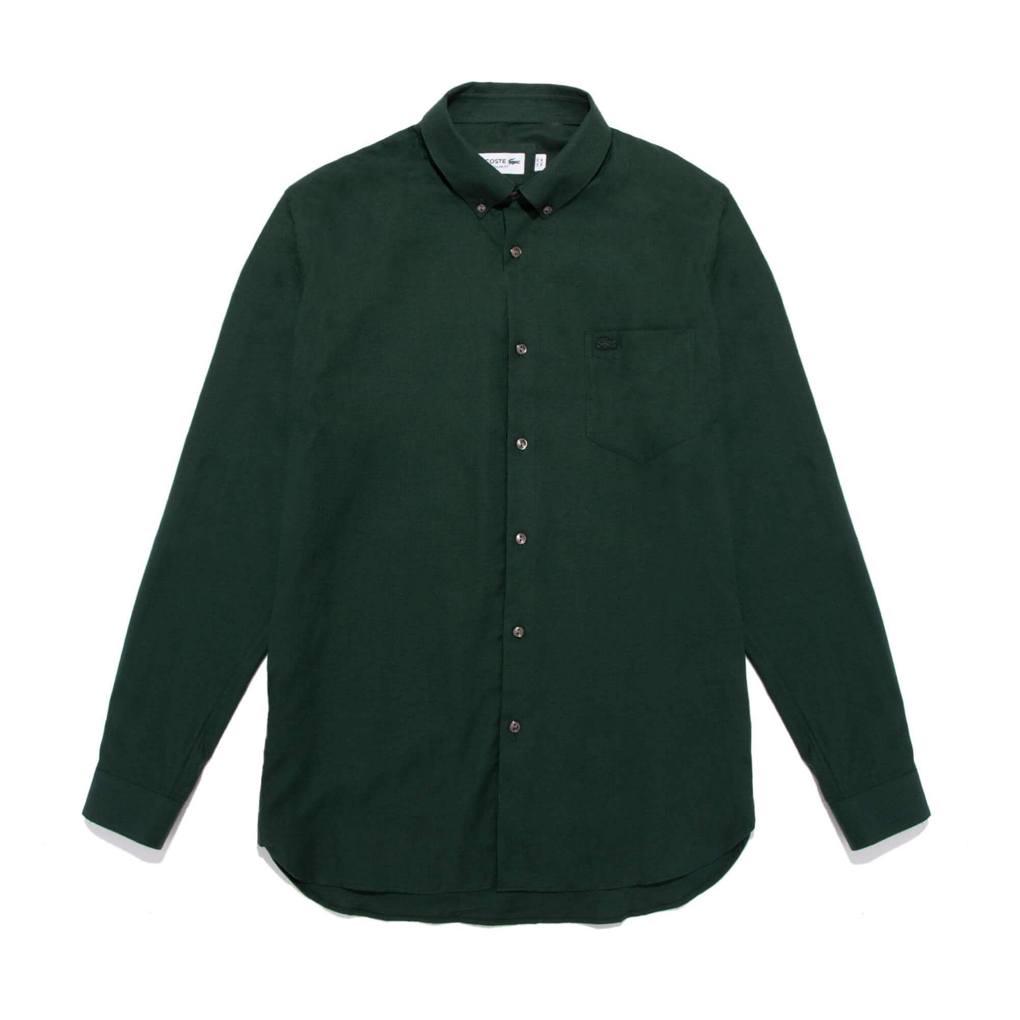 Men's Regular Fit Mother-Of-Pearl Buttoned Wool Blend Shirt