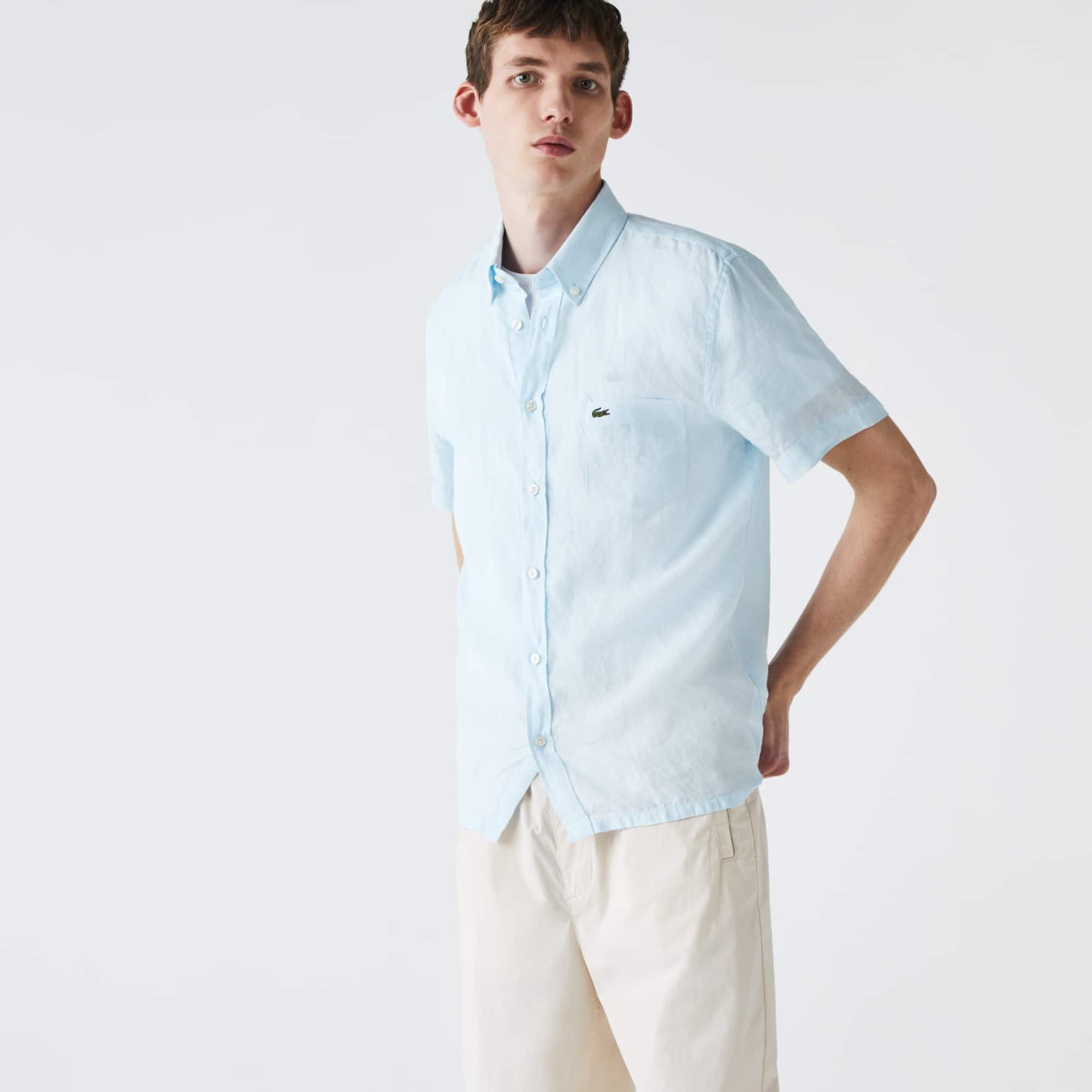 Men\u0027s Regular Fit Linen Shirt ...