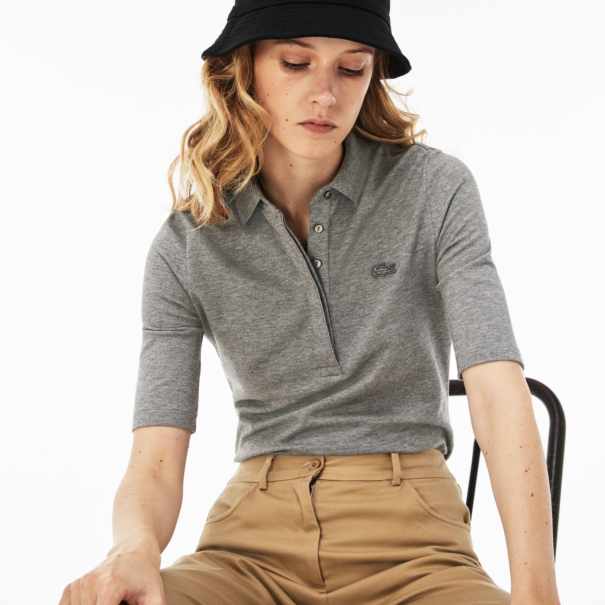 Women's  Slim Fit Stretch Mini Piqué Polo Shirt