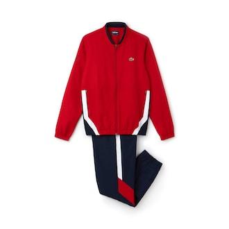 라코스테 스포츠 컬러블록 테니스 트랙 수트 Lacoste Mens SPORT Colorblock Taffeta Tennis Tracksuit,Red / Navy Blue / White