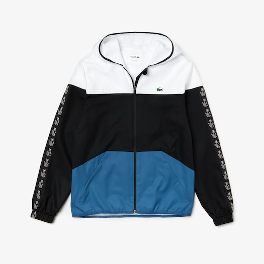 라코스테 Lacoste Mens SPORT Colorblock Tennis Jacket,White / Black / Blue - 6S9 (Selected colour)