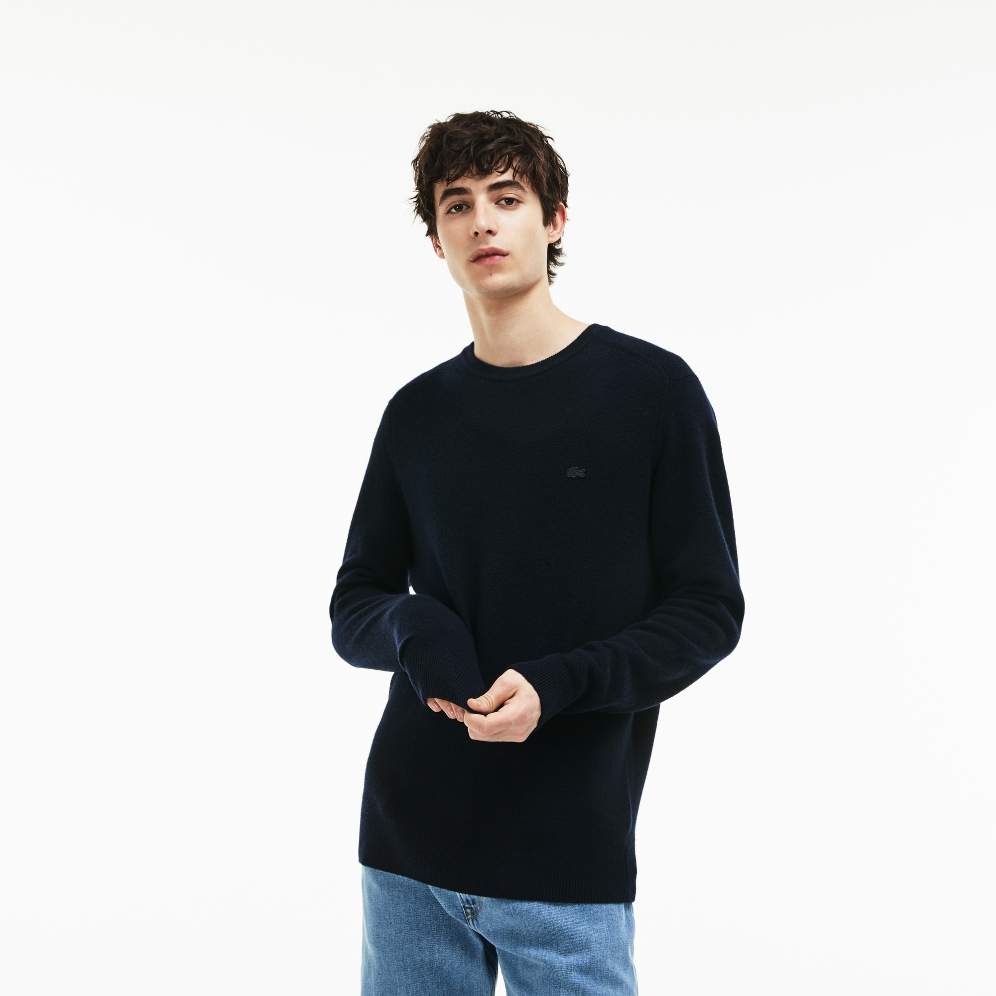 aba3ddeaf Men's Crew Neck Double Wool And Cashmere Piqué Sweater | LACOSTE